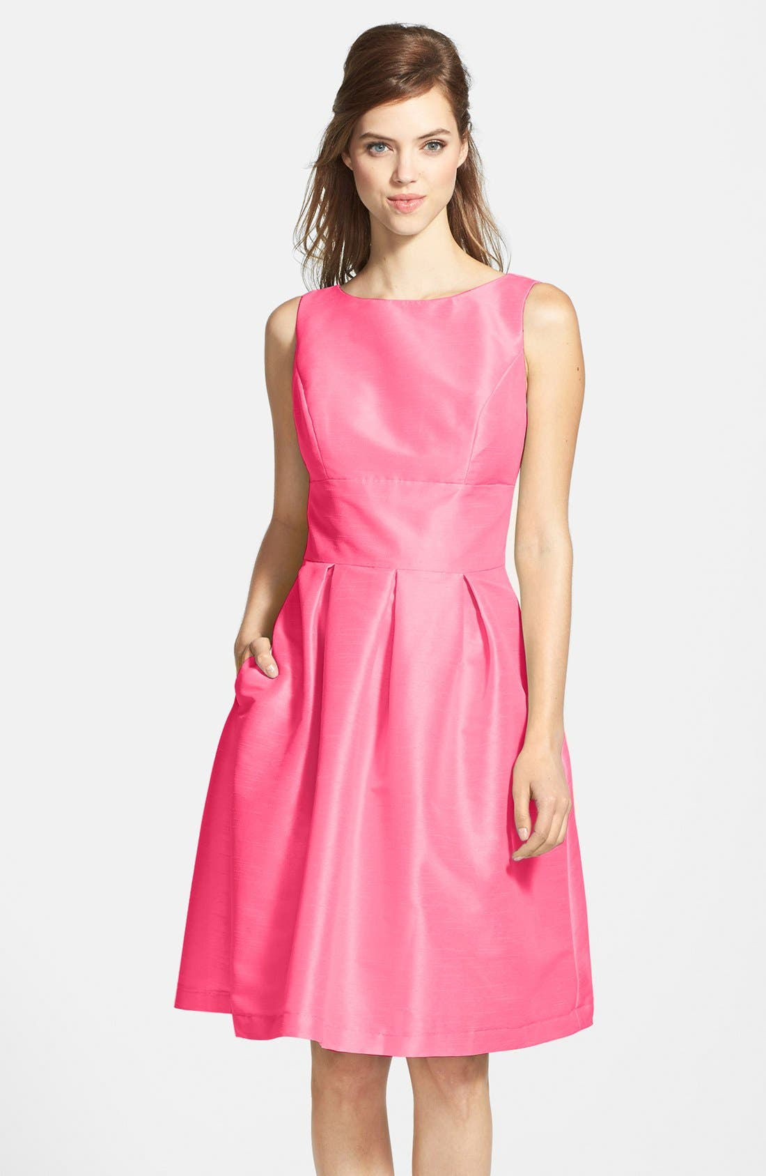 Alternate Image 1 Selected - Alfred Sung Dupioni Fit & Flare Dress