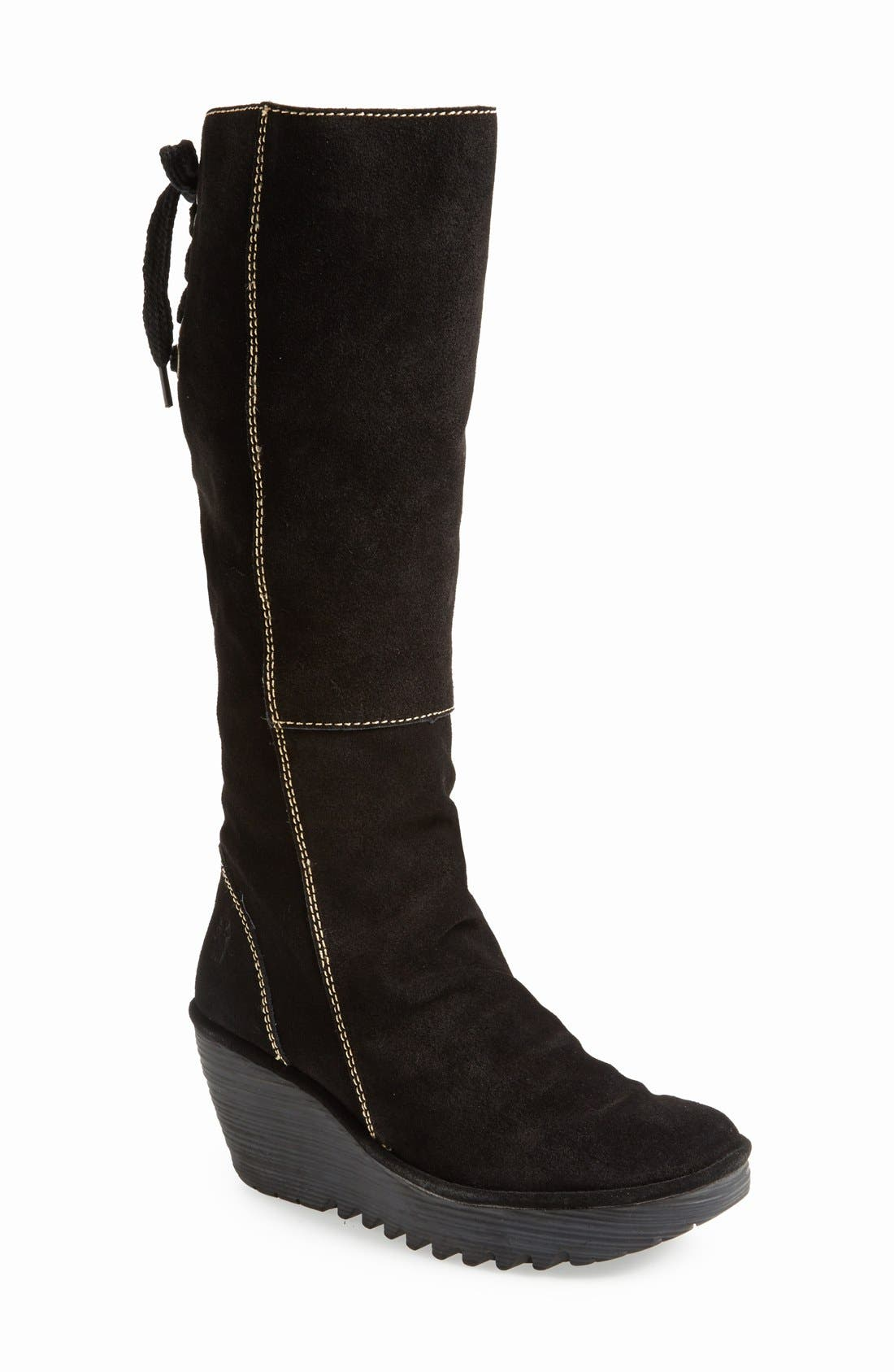 'Yust' Knee High Platform Wedge Boot,                         Main,                         color, Black Suede