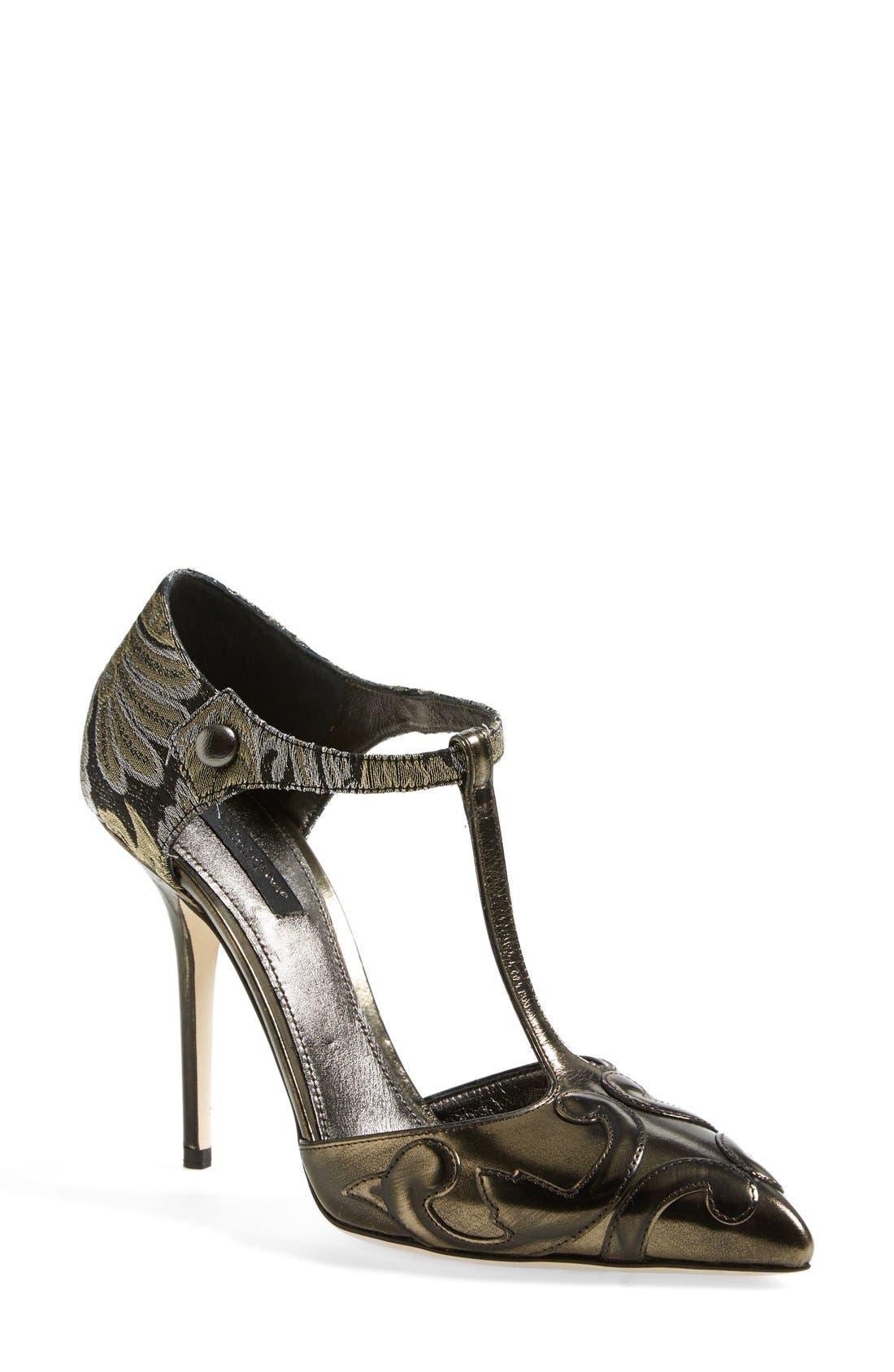 Main Image - Dolce&Gabbana Jacquard Pointy Toe T-Strap Pump (Women)