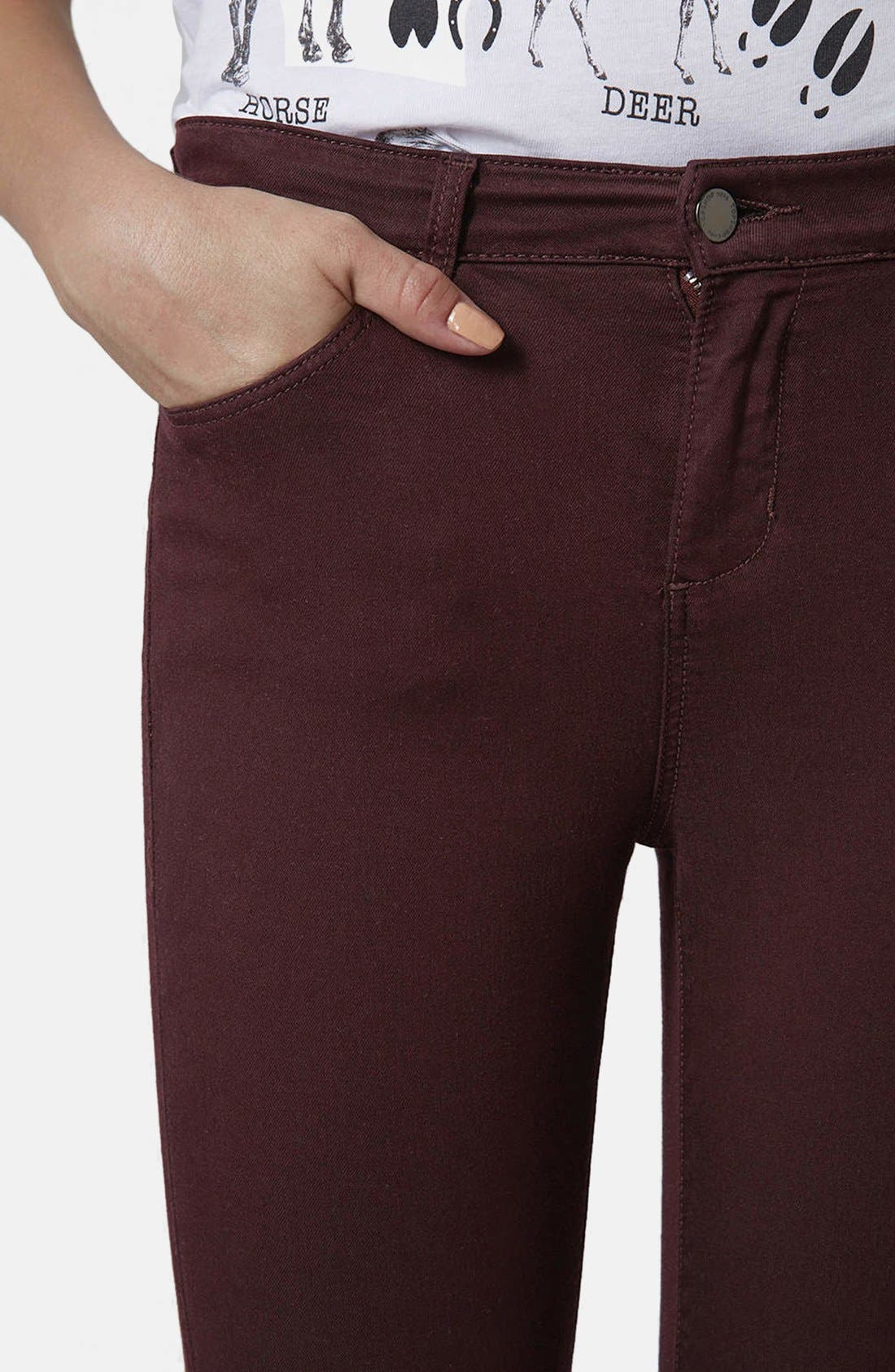 Alternate Image 4  - Topshop Moto 'Leigh' Stretch Ankle Skinny Jeans (Aubergine)
