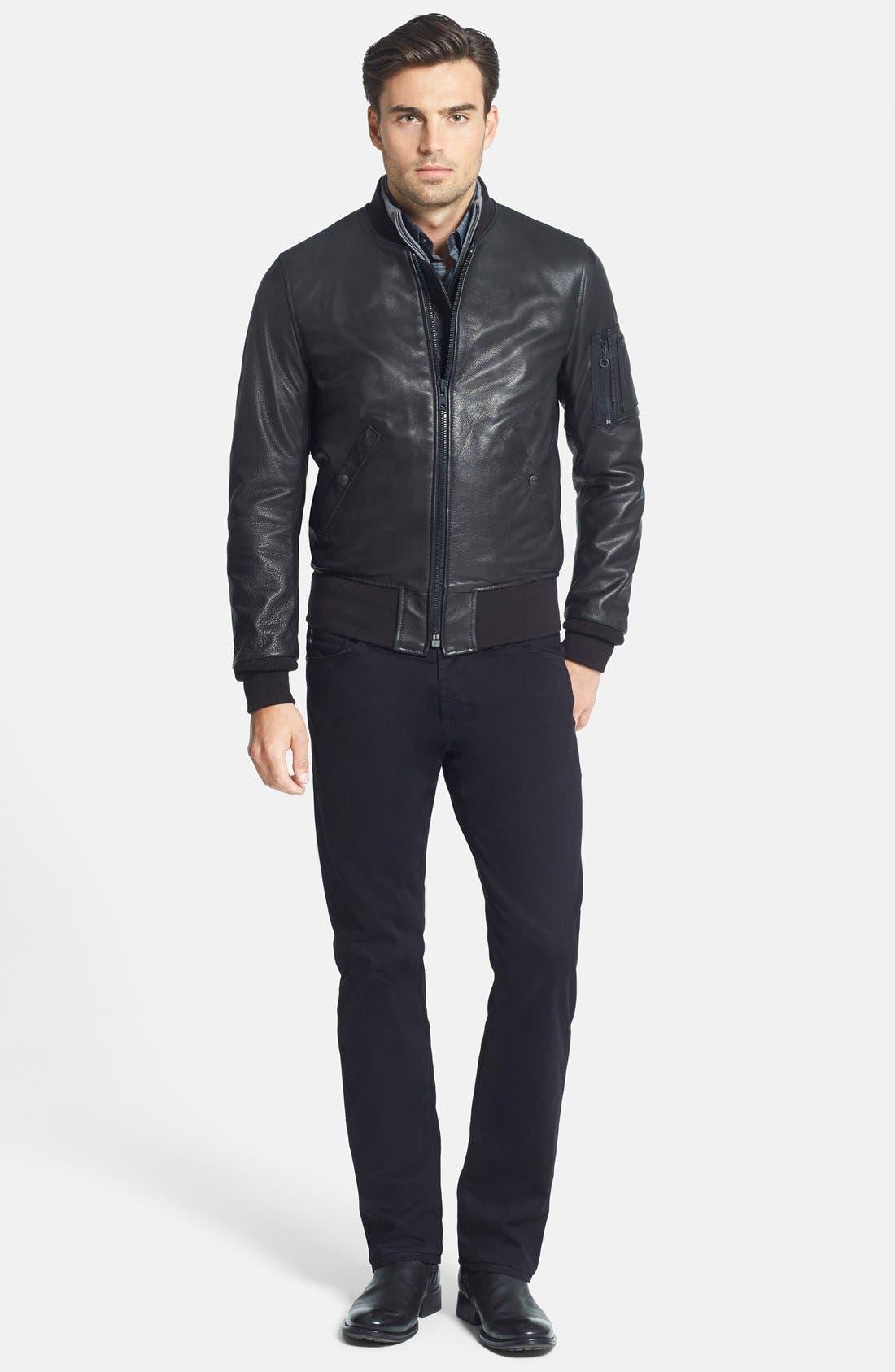 Alternate Image 2  - Schott NYC 'MA-1' Slim Fit Leather Jacket