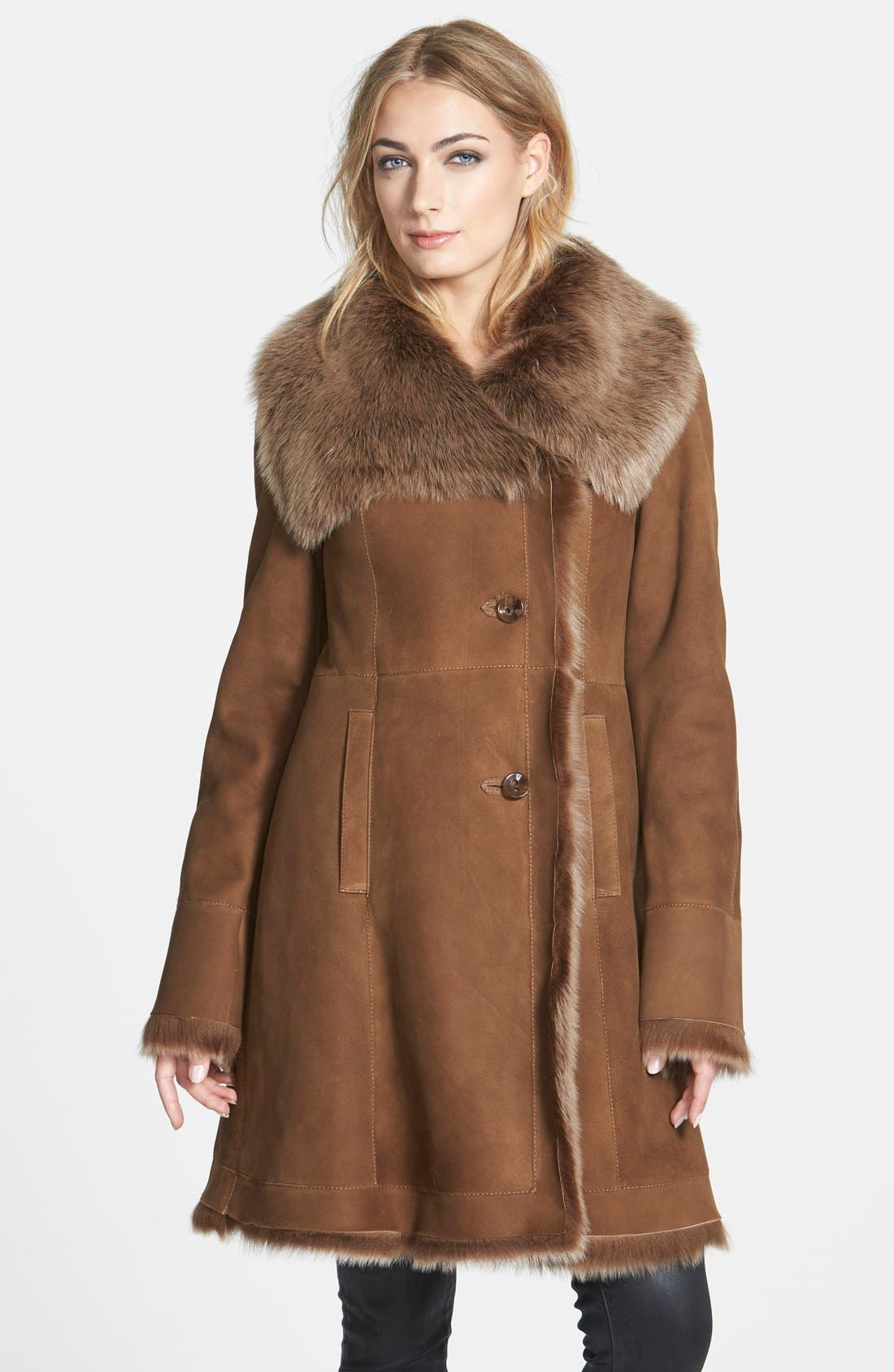 Alternate Image 1 Selected - HIDESOCIETY Envelope Collar Genuine Toscana Shearling Coat