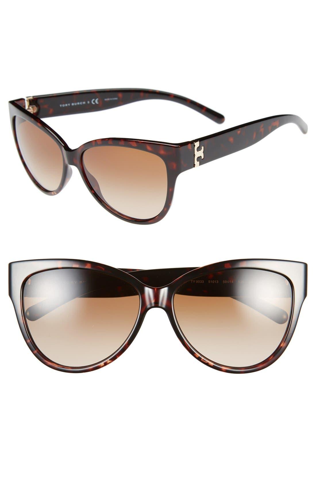 59mm Cat Eye Sunglasses,                             Main thumbnail 1, color,                             Tortoise