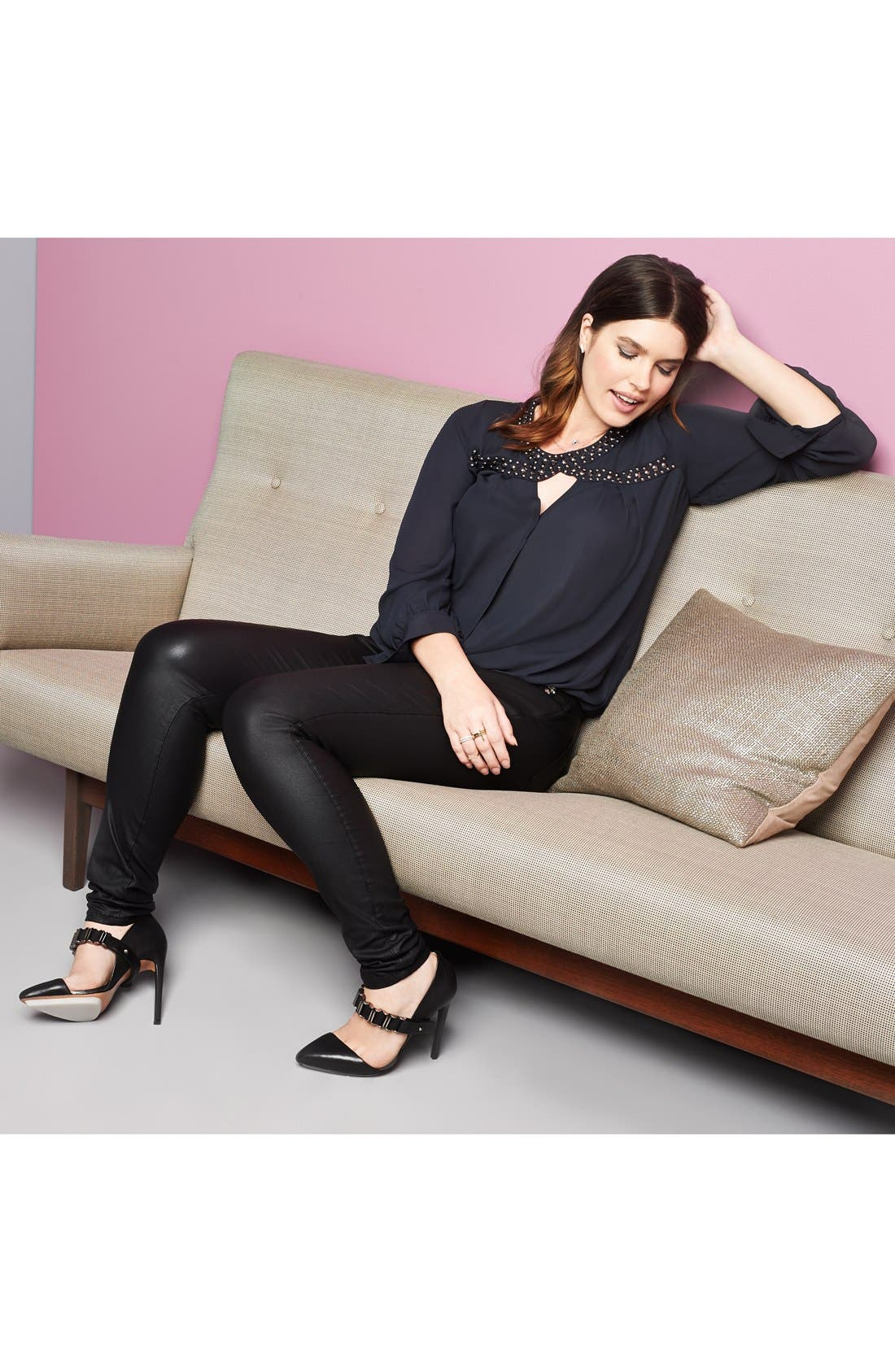 Alternate Image 4  - City Chic 'Wet Look' Stretch Skinny Jeans (Black) (Plus Size)