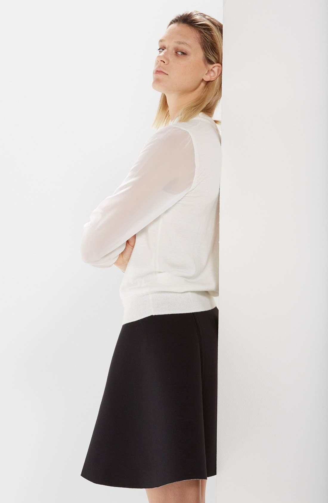 Chiffon Sleeve Knit Pullover,                             Alternate thumbnail 4, color,                             Raw White