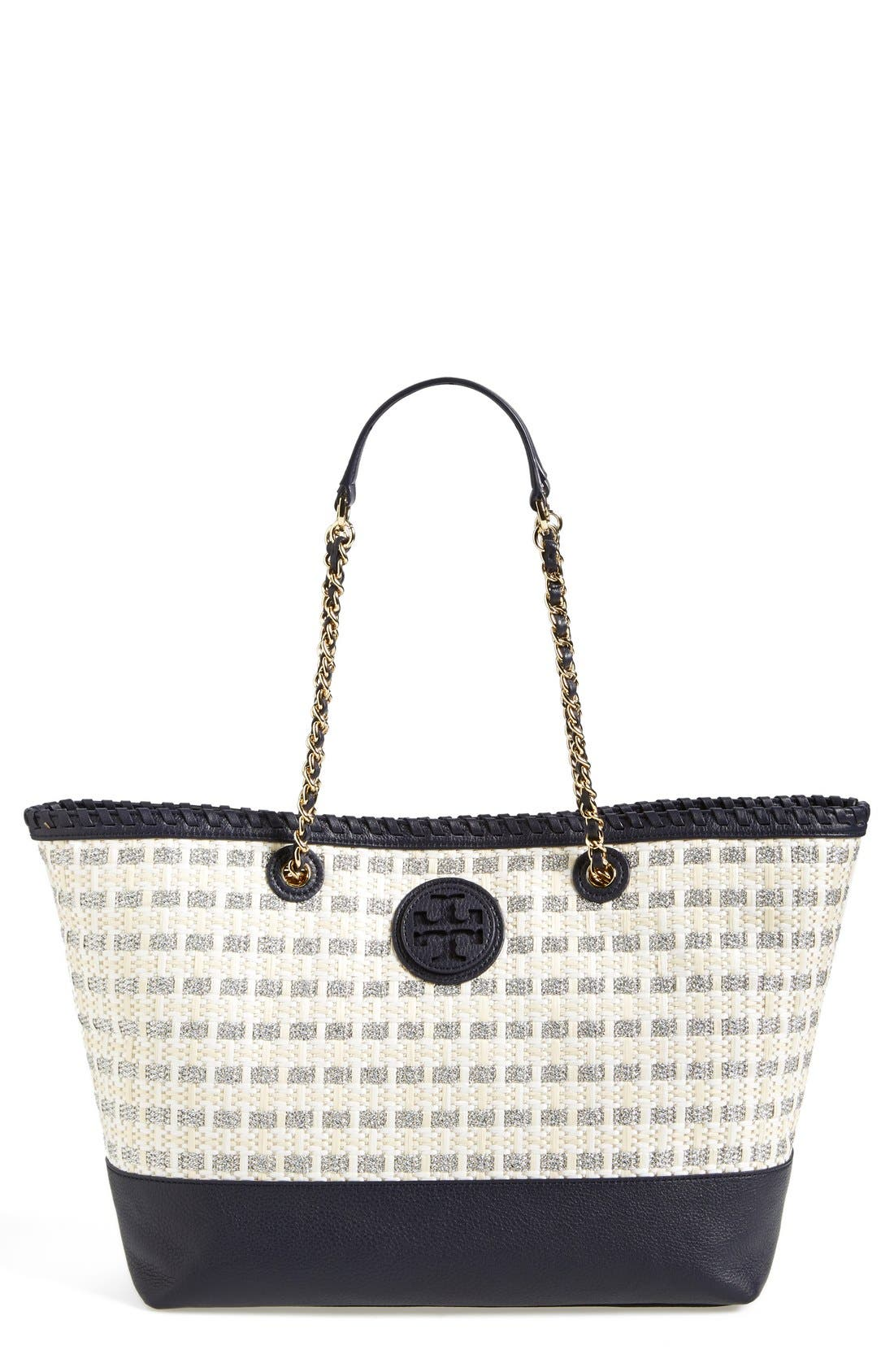 Alternate Image 1 Selected - Tory Burch 'Marion' Woven Straw Tote