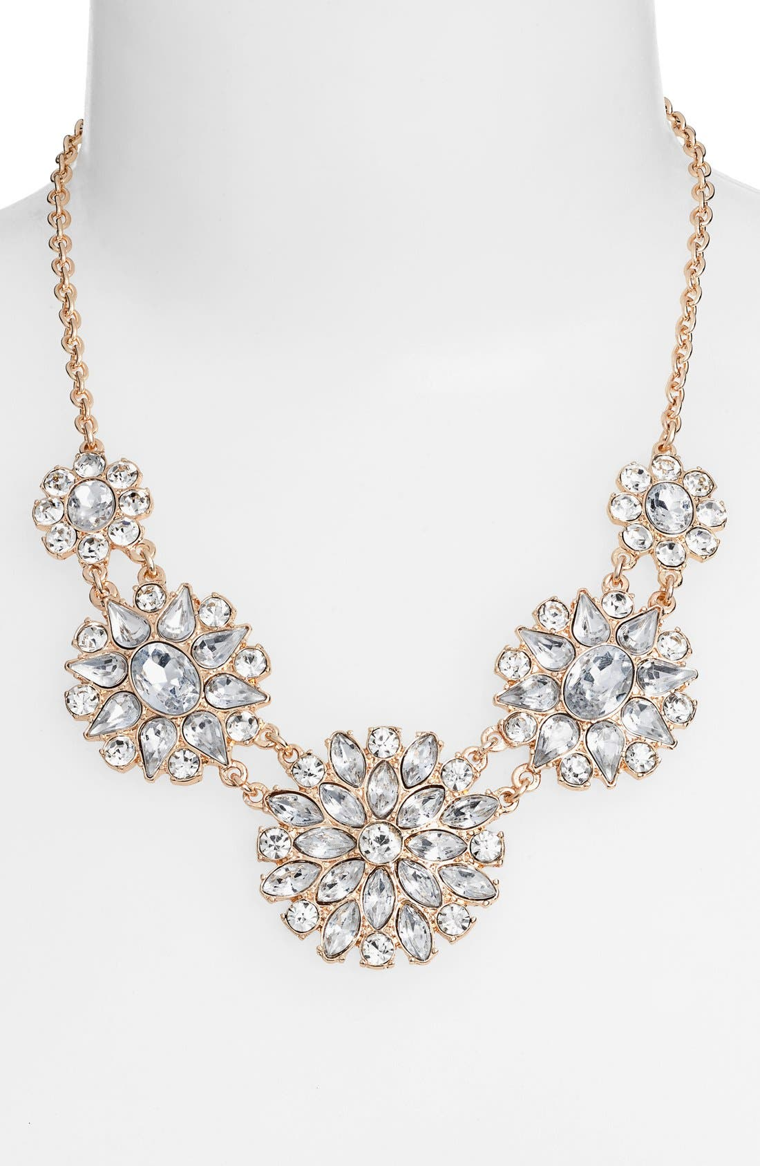 Crystal Flower Statement Necklace,                         Main,                         color, Crystal