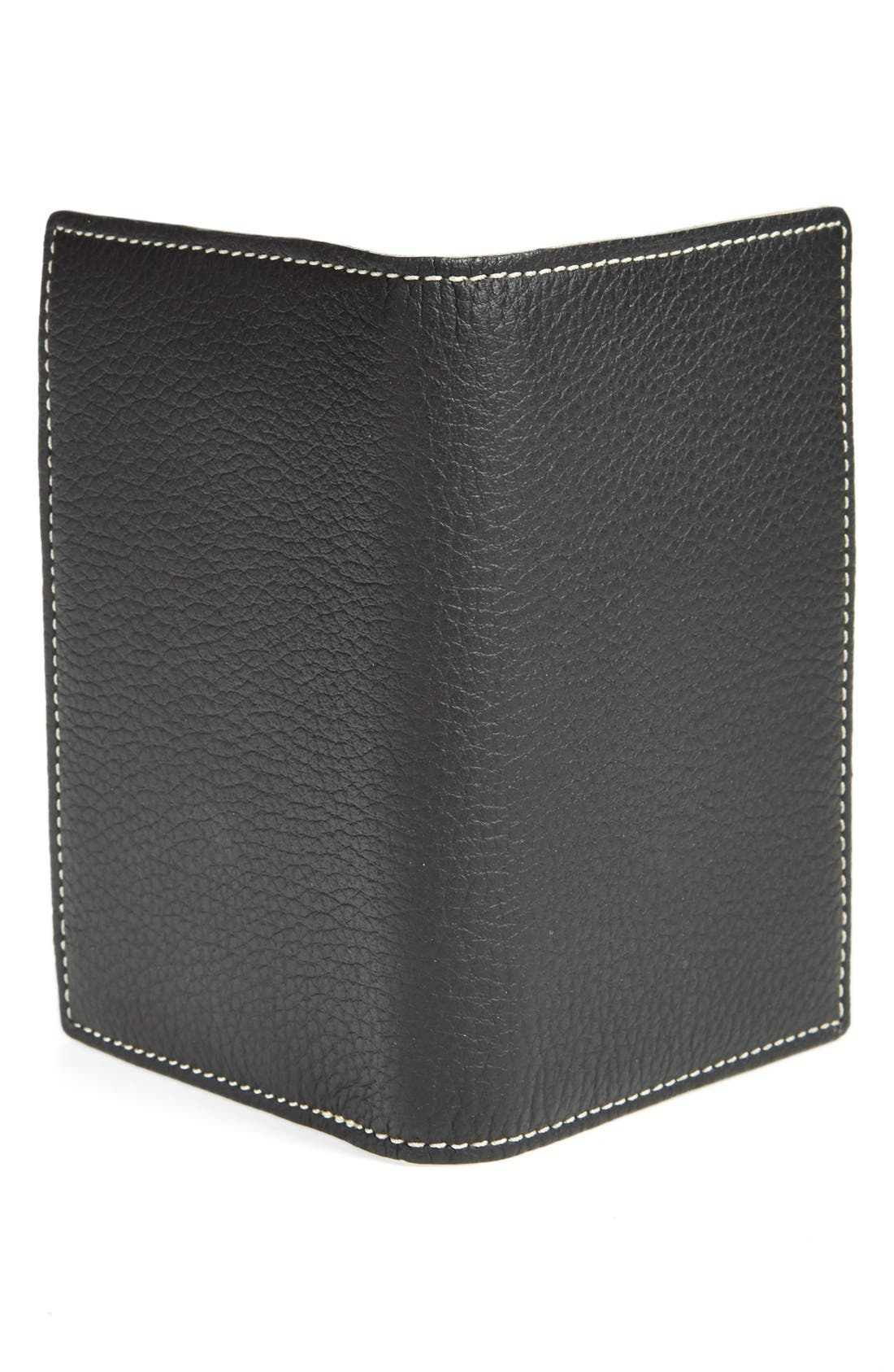 'Jackson' Norwegian Elk Leather Passport Holder,                             Alternate thumbnail 2, color,                             Black Norwegian Elk