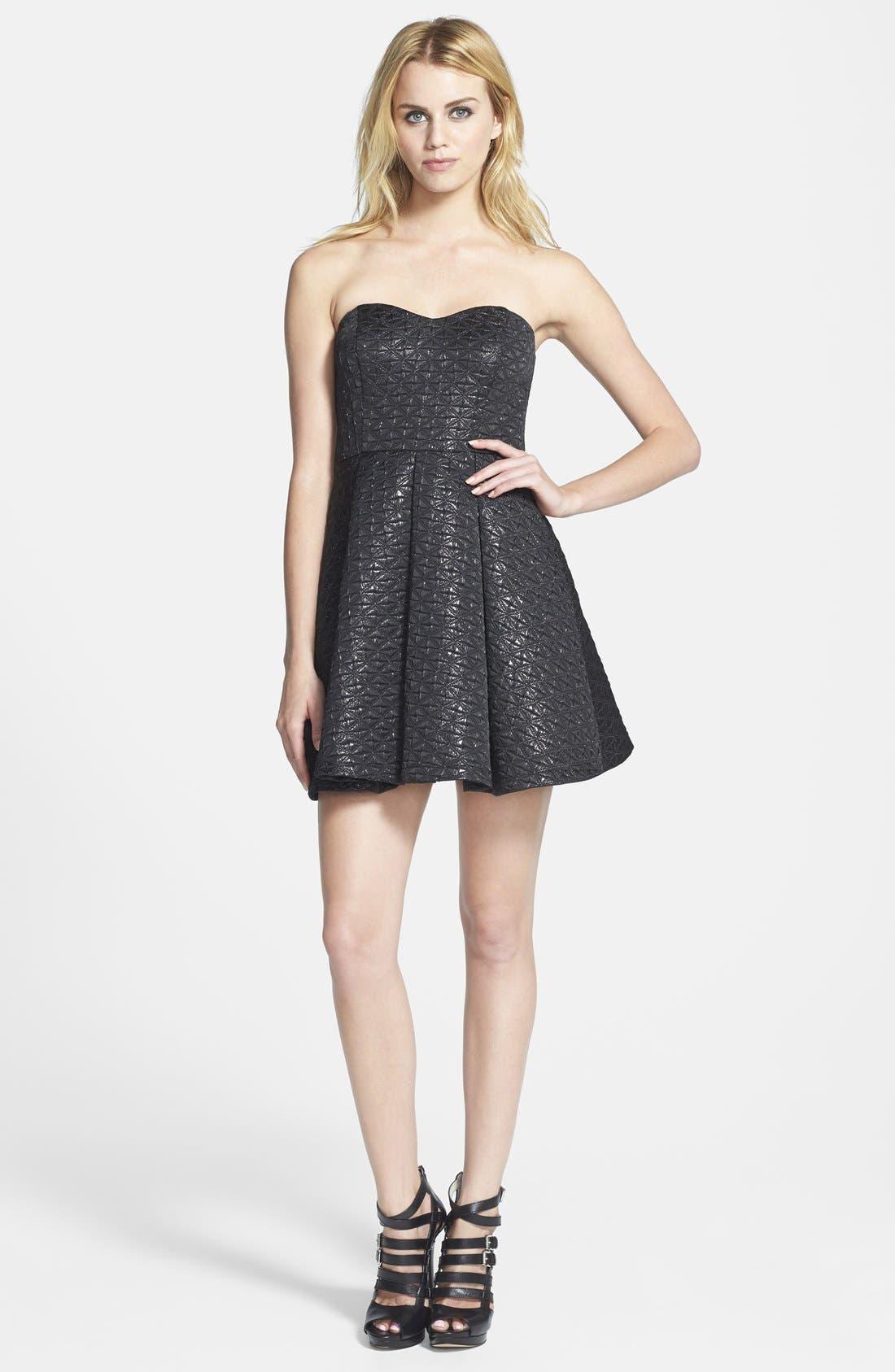 Main Image - ASTR Strapless Jacquard Fit & Flare Dress