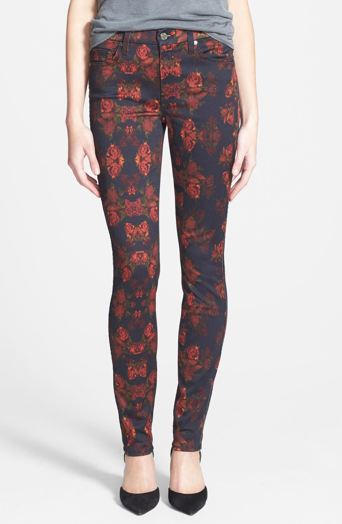 Main Image - 7 For All Mankind® 'The Skinny' Stretch Jeans (Rouge Roses)