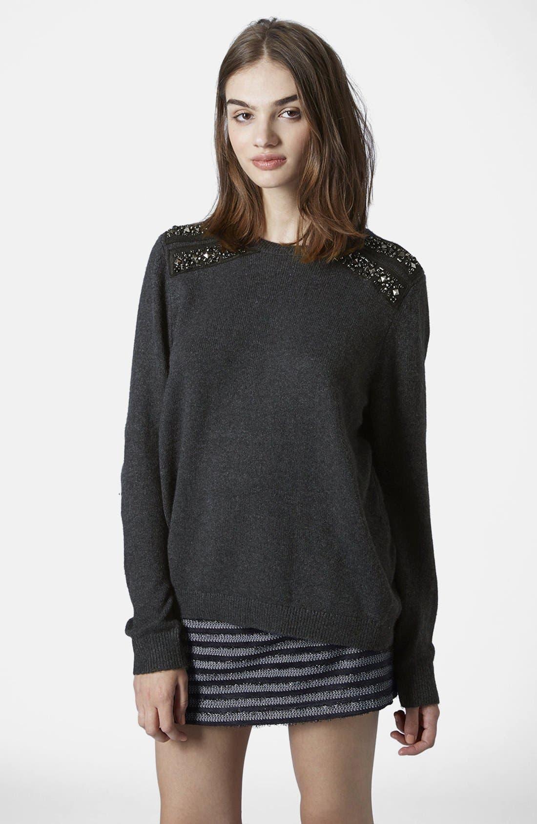 Alternate Image 1 Selected - Topshop Embellished Shoulder Sweater