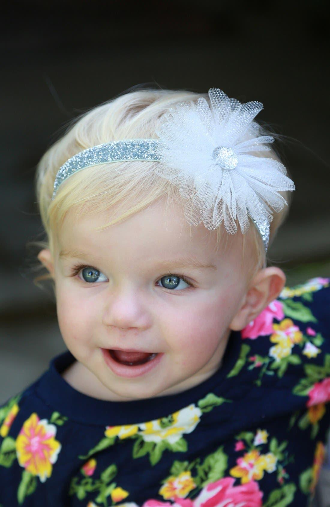 Alternate Image 2  - PLH Bows & Laces 'Tutu Flower' Glitter Headband & Crib Shoes (Baby Girls)