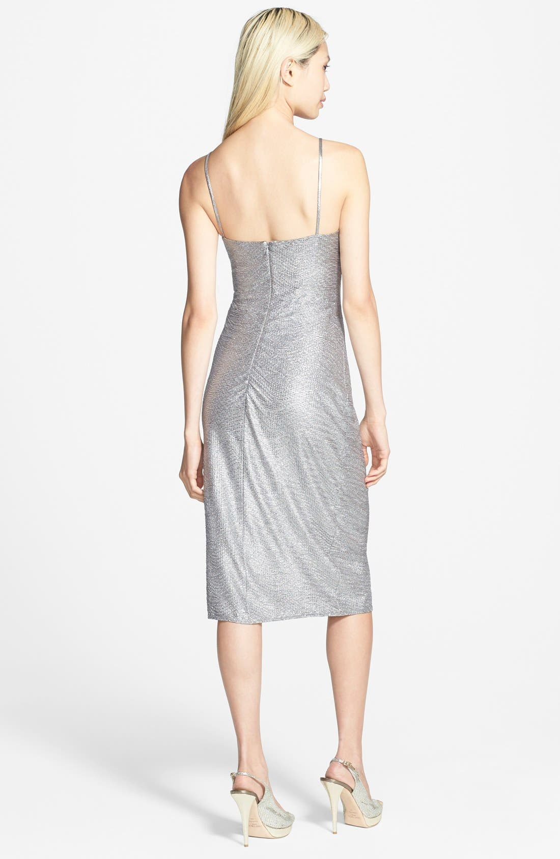 Alternate Image 2  - Laundry by Shelli Segal Metallic Shirred Dress