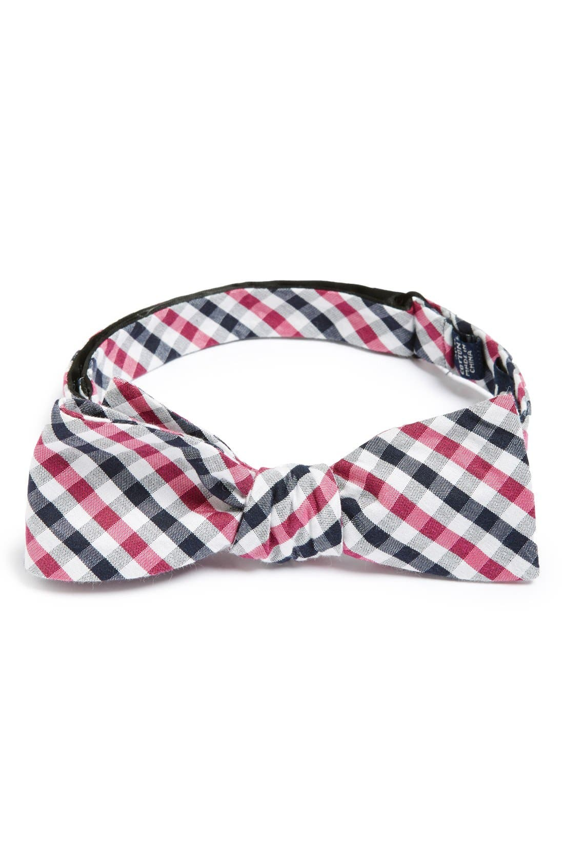 'Bloomquist' Check Silk Blend Bow Tie,                             Main thumbnail 1, color,                             Berry