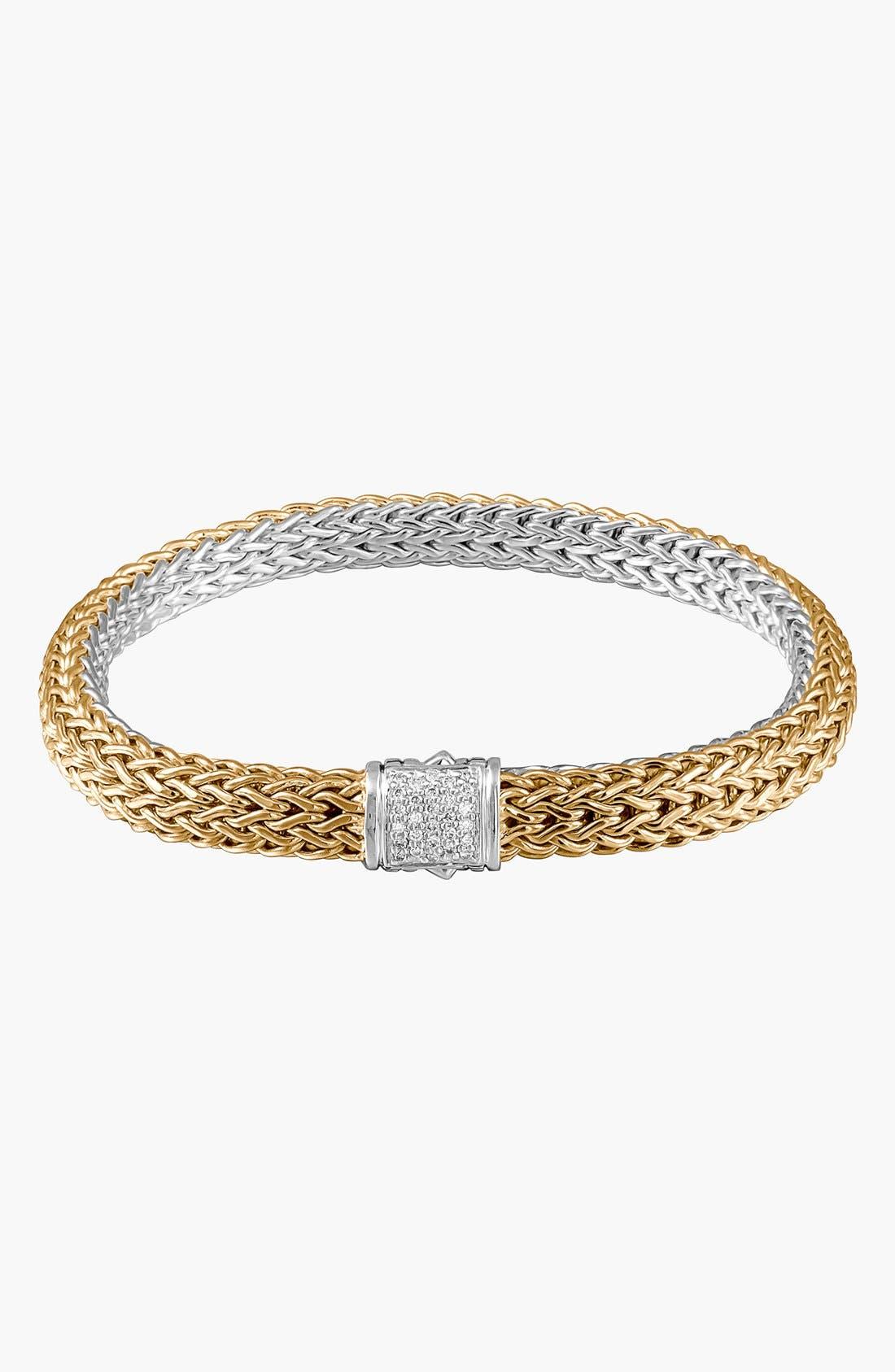 'Classic Chain' Diamond Two-Tone Bracelet,                             Main thumbnail 1, color,                             Gold/ Silver/ Diamond