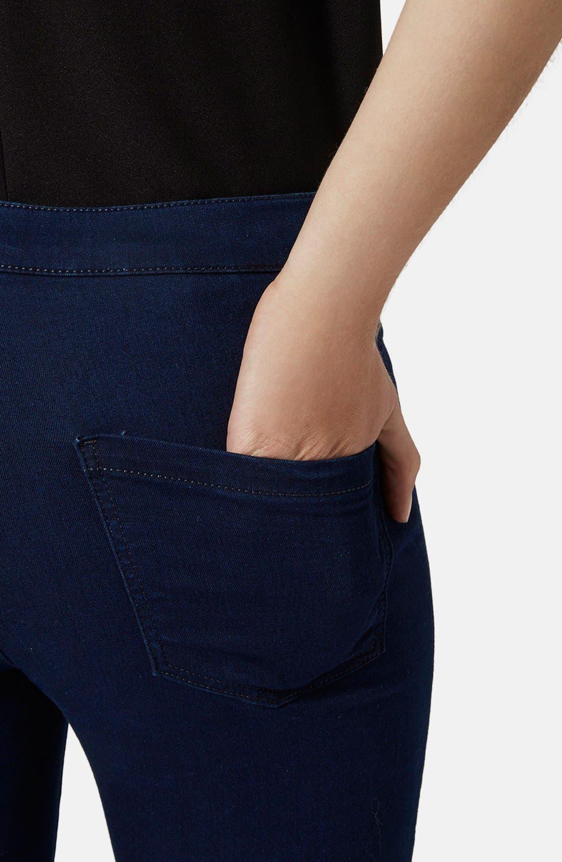 Alternate Image 4  - Topshop Moto 'Joni' High Rise Jeans (Blue) (Petite)