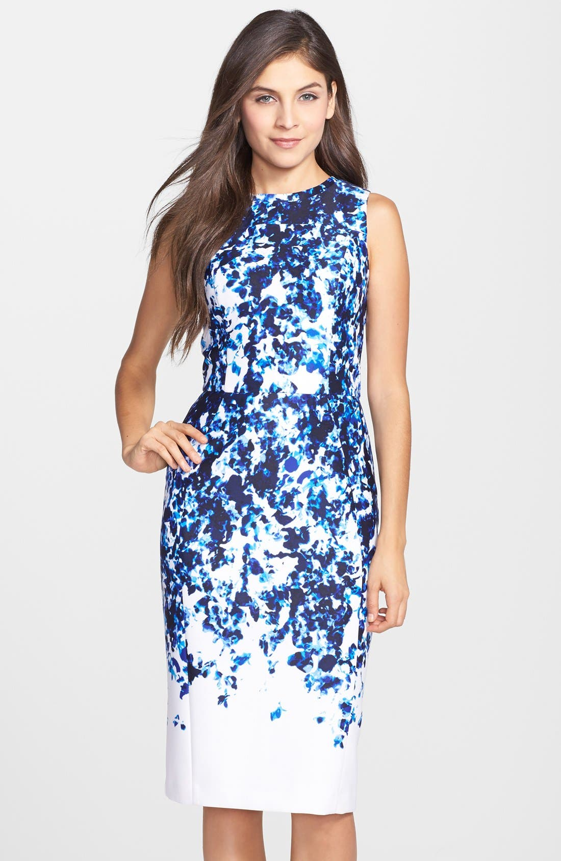 Alternate Image 1 Selected - Vince Camuto Print Scuba Sheath Dress (Regular & Petite)