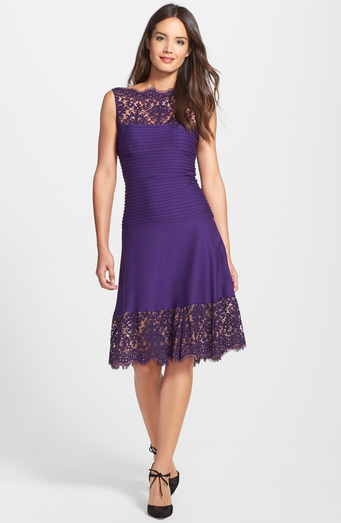 Alternate Image 3  - Tadashi Shoji Lace Trim Pintuck Jersey Fit & Flare Dress