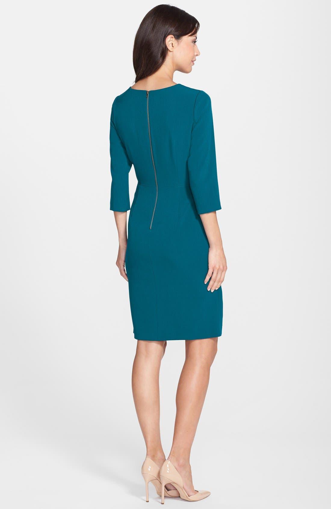 Alternate Image 2  - Adrianna Papell Mesh Insert Crepe Sheath Dress (Regular & Petite)