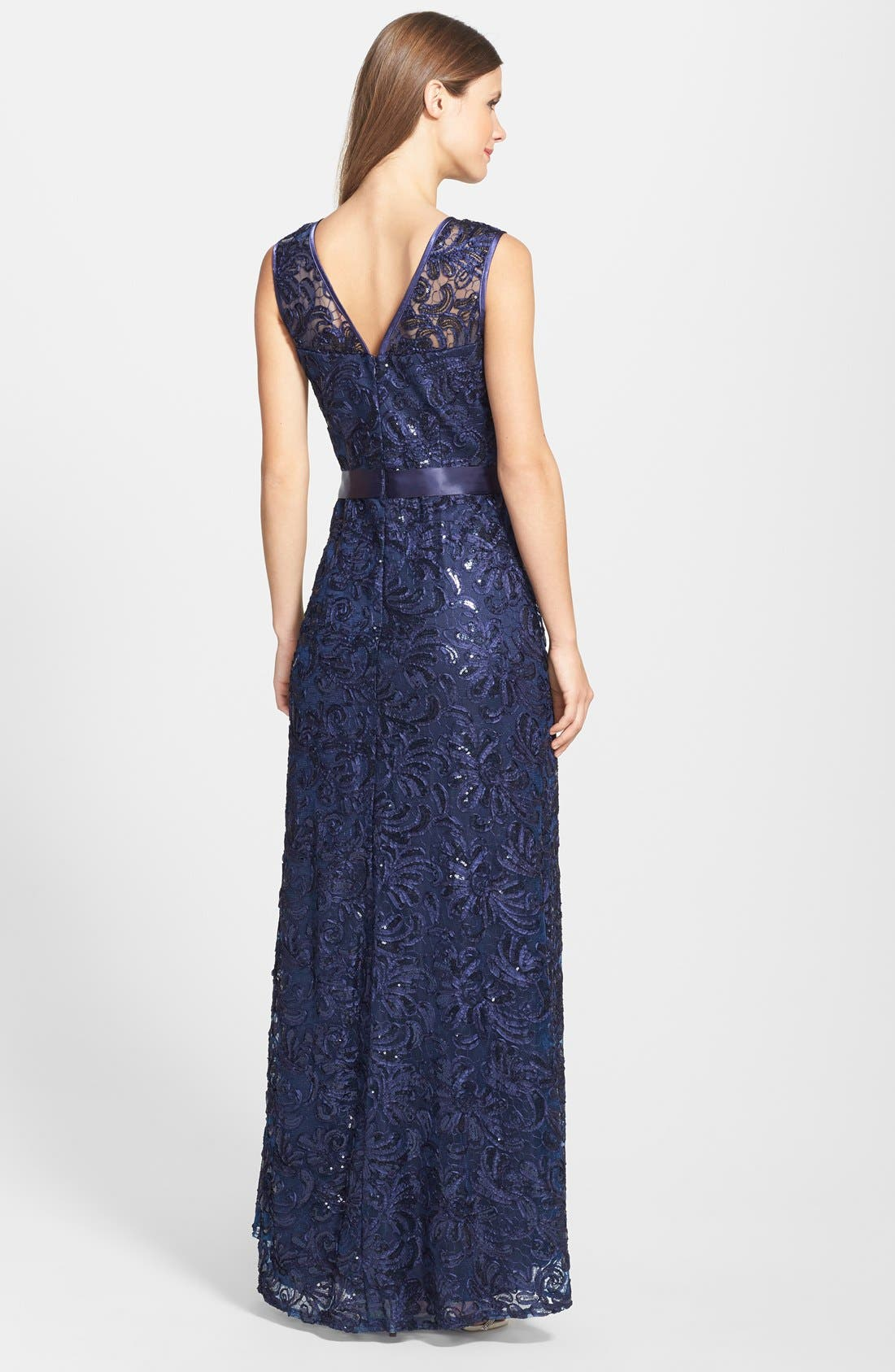 Alternate Image 2  - Betsy & Adam Sleeveless Sequined Lace Gown