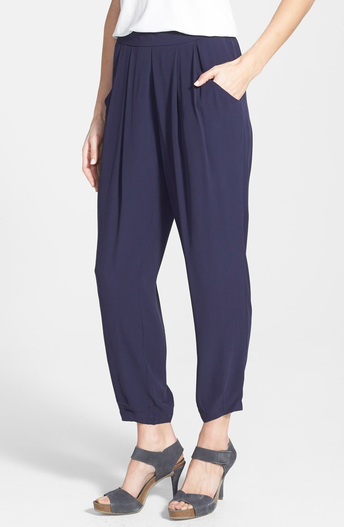 Alternate Image 1 Selected - Eileen Fisher Silk Ankle Pants