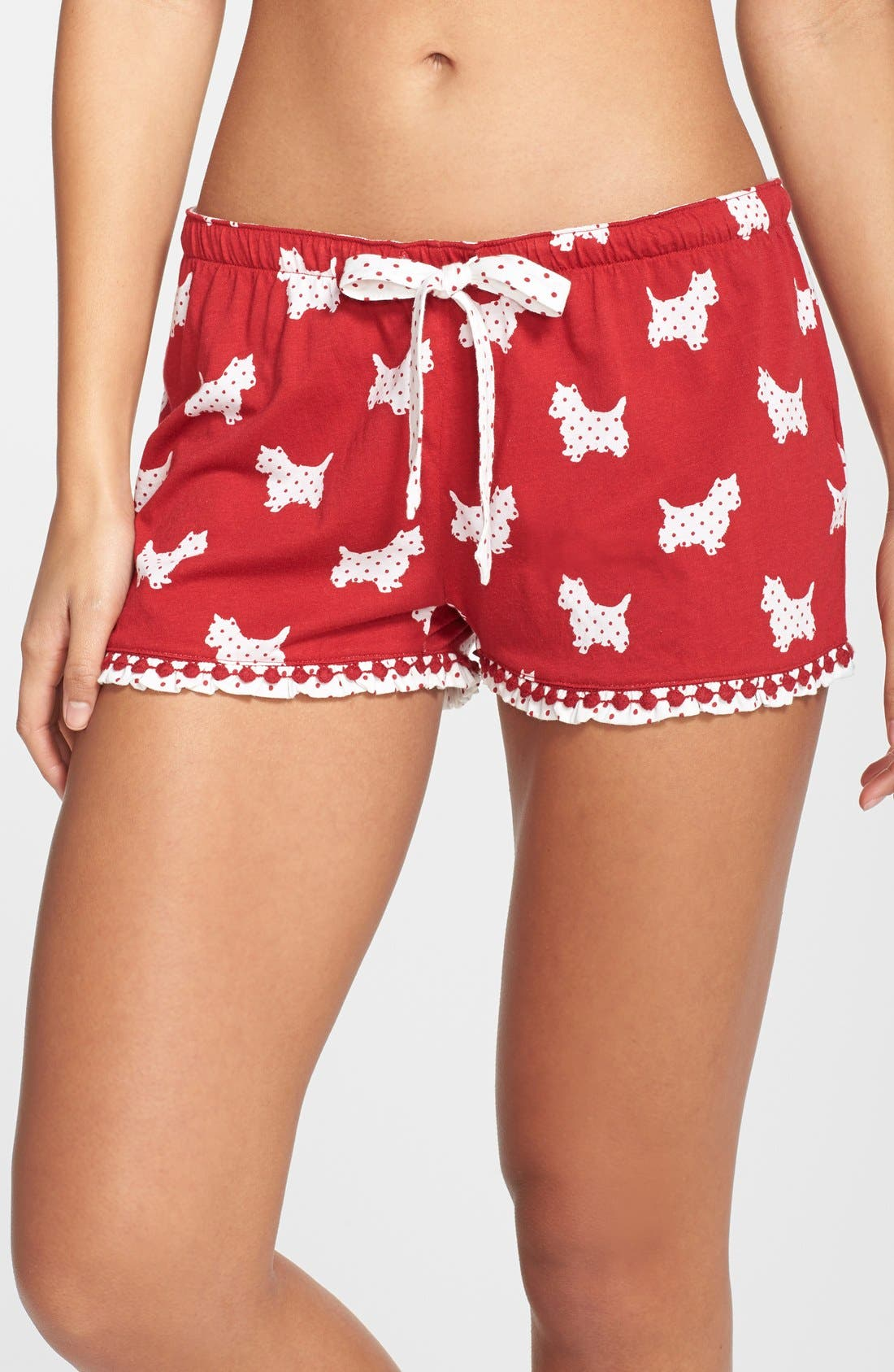 Print Jersey Shorts,                             Main thumbnail 1, color,                             Red/ Scotty Dogs