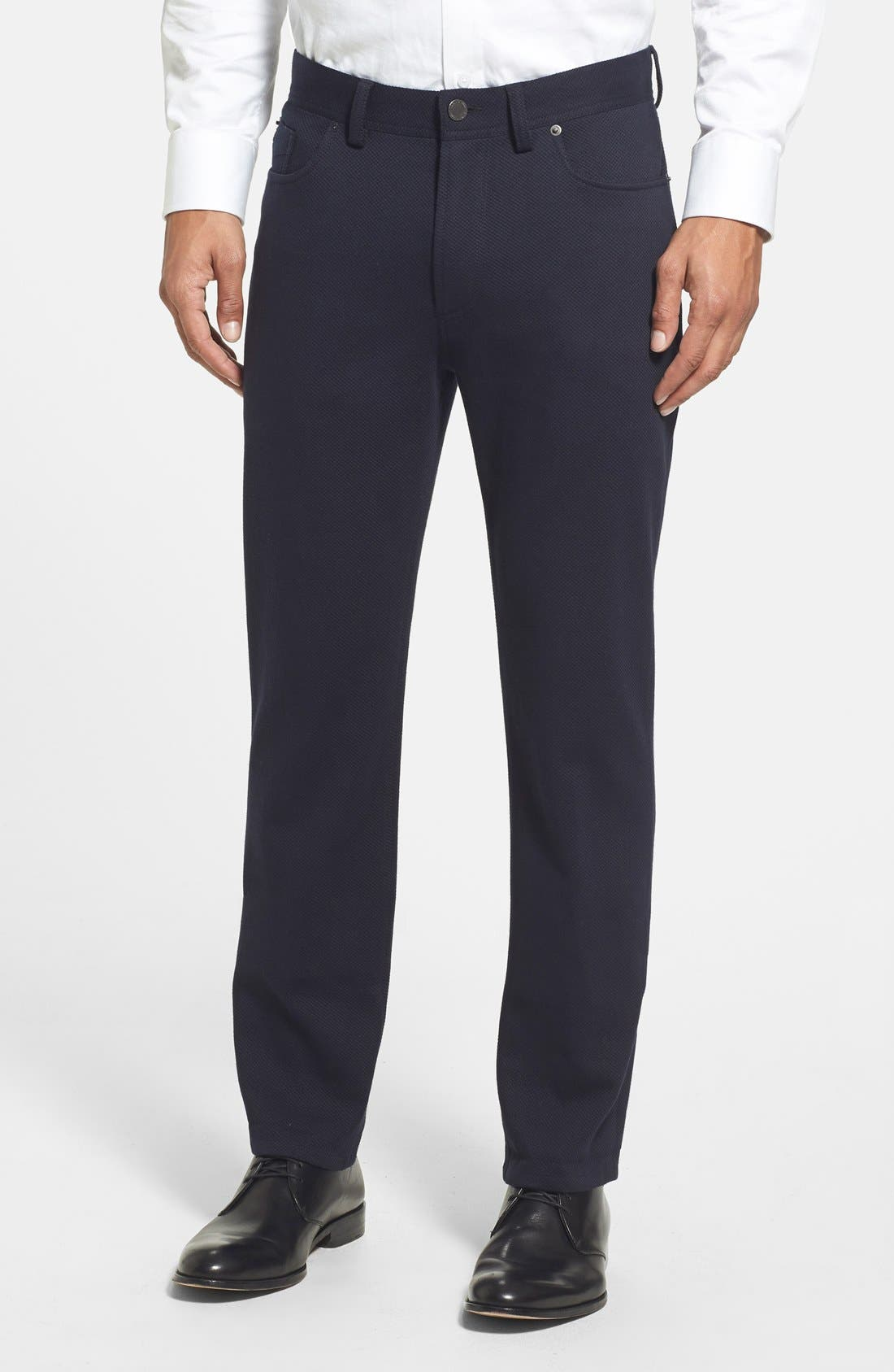 Straight Leg Five Pocket Stretch Pants,                         Main,                         color, Black Crosshatch