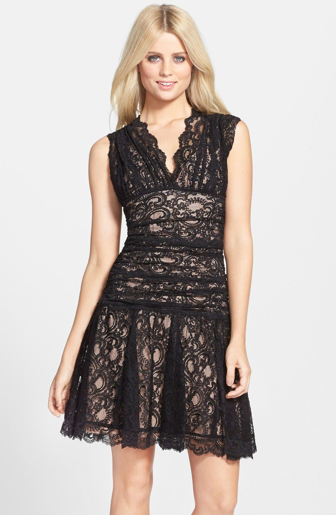 Alternate Image 1 Selected - Nicole Miller Stretch Lace Fit & Flare Dress