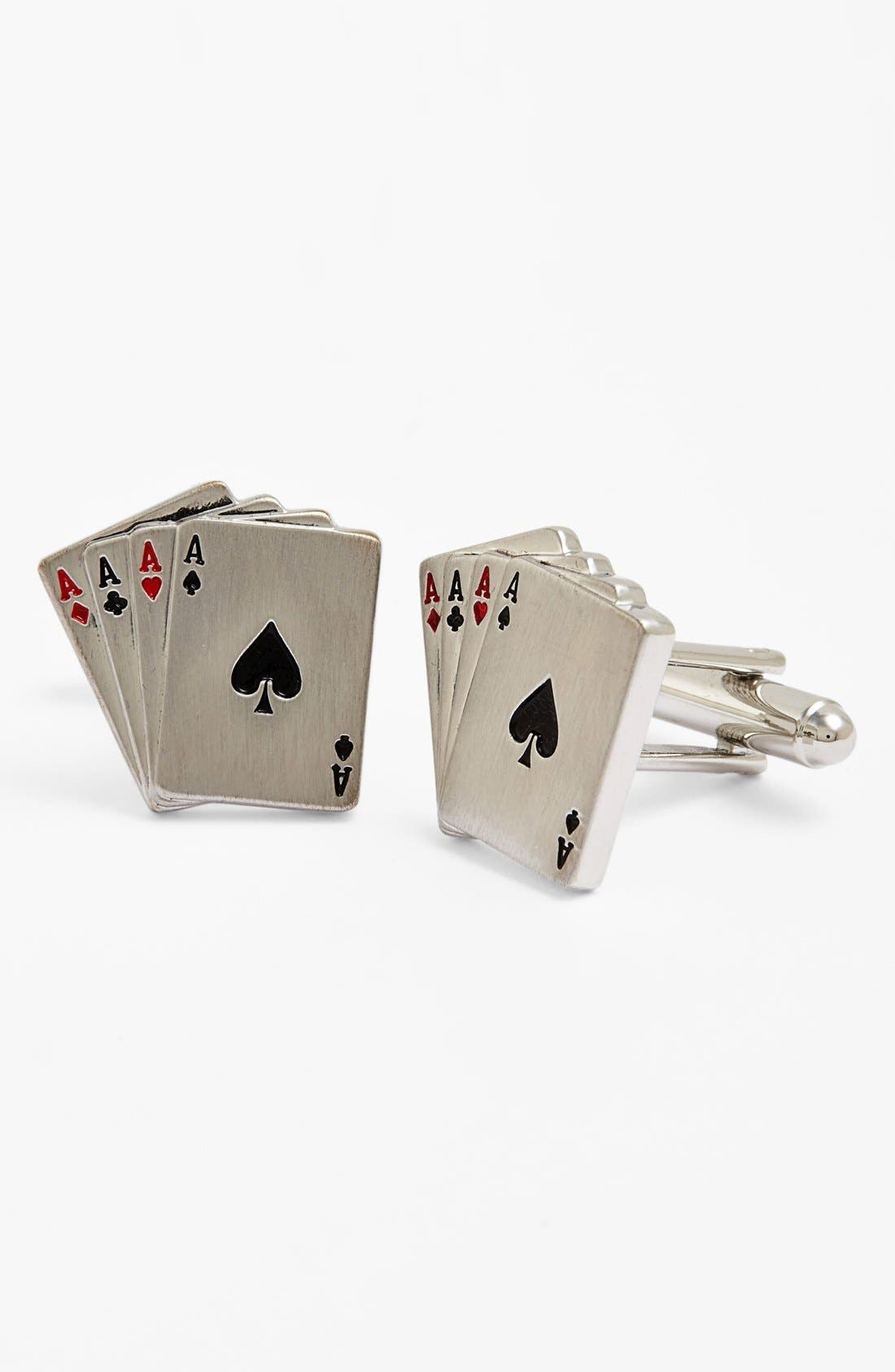 'Aces Wild' Cuff Links,                         Main,                         color, Silver/ Red/ Black