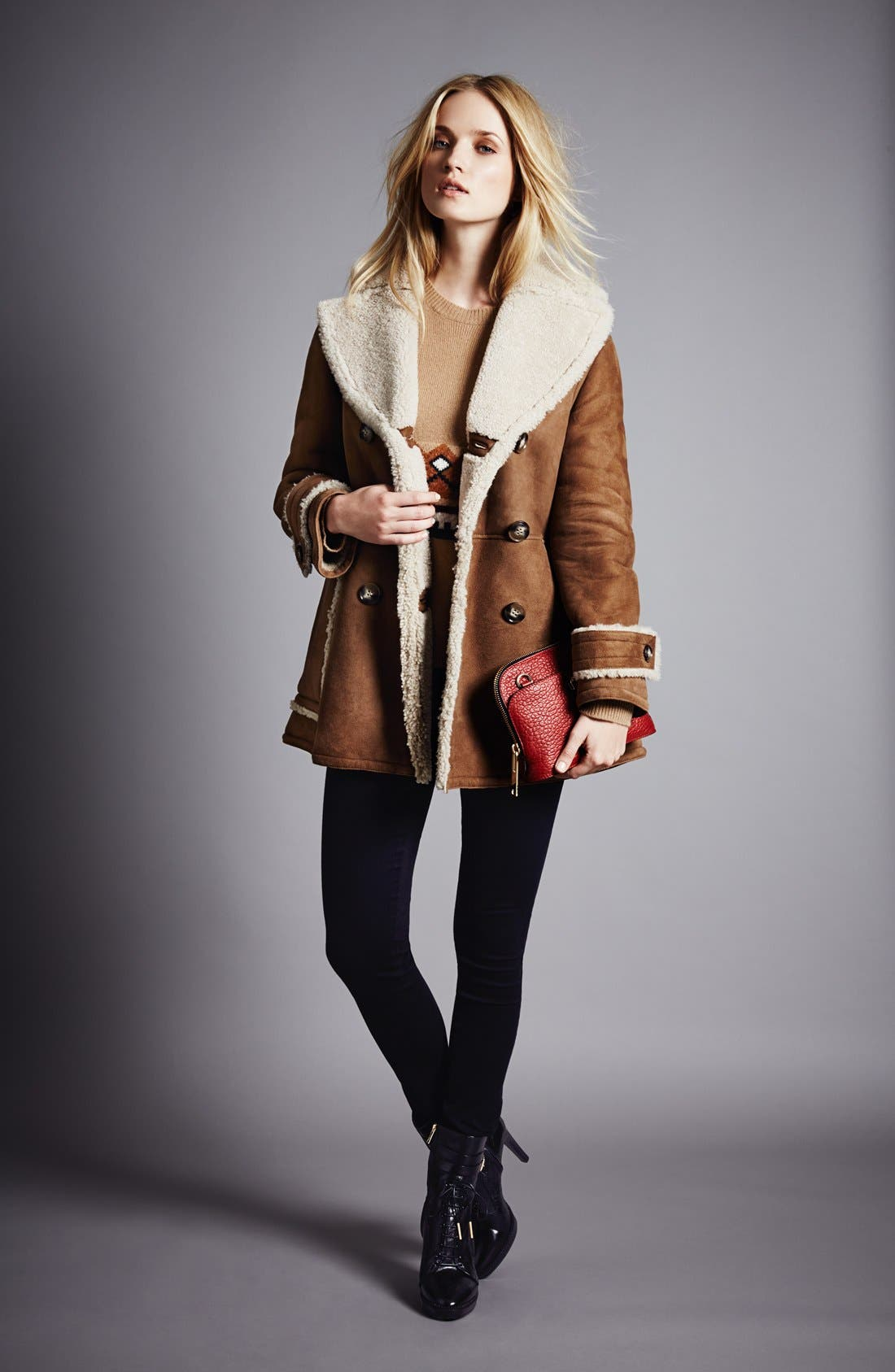 Alternate Image 2  - Burberry Brit 'Drakefield' Double Breasted Genuine Shearling Coat