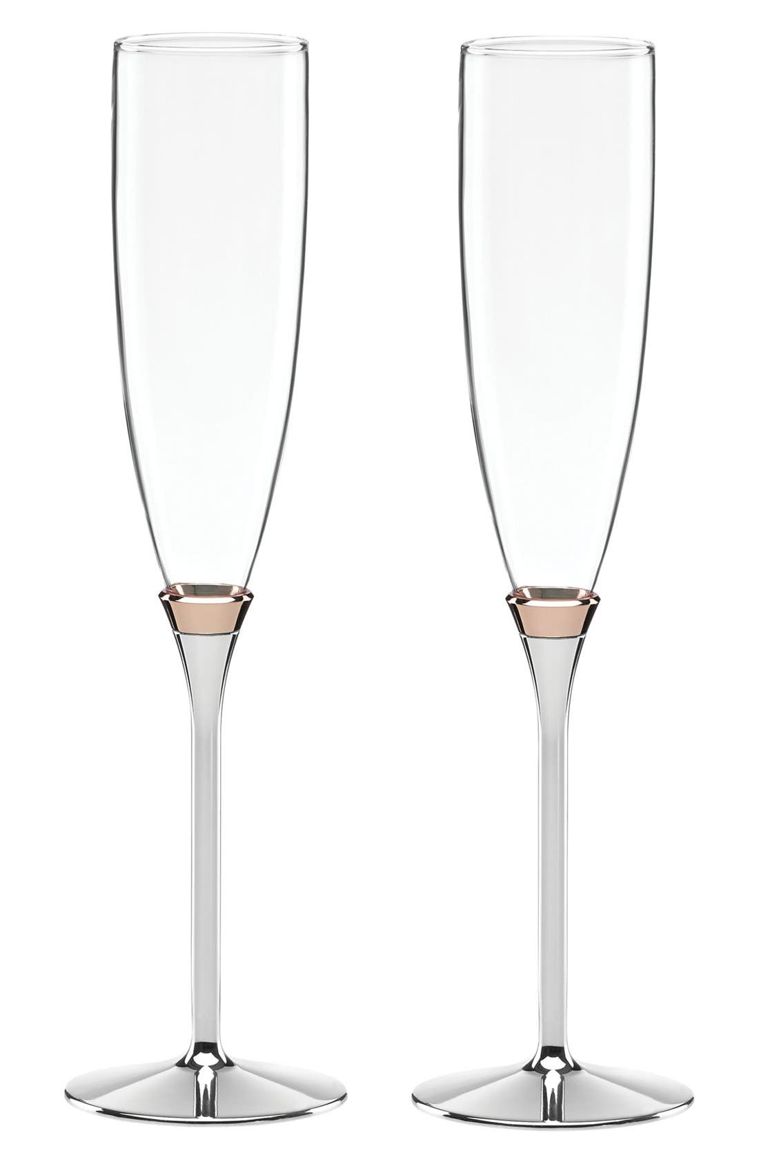'rosy glow' champagne toasting flutes,                         Main,                         color, Rose Gold/Silverplate