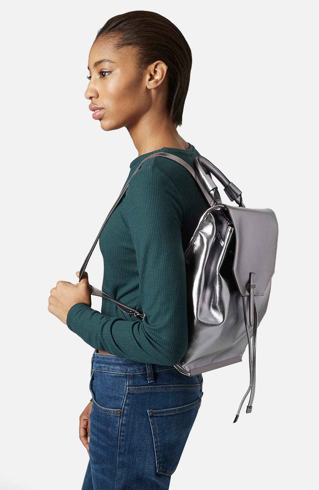 Alternate Image 2  - Topshop Metallic Faux Leather Backpack