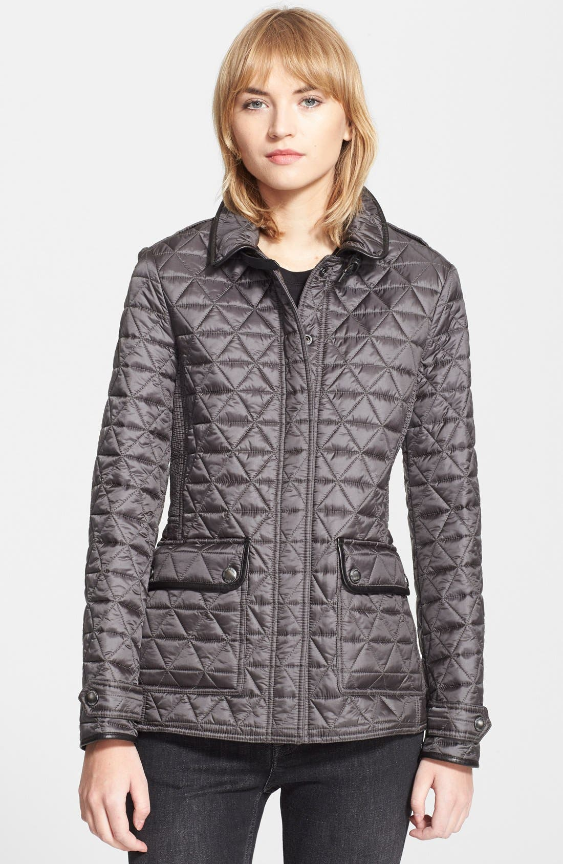 Main Image - Burberry Brit 'Lunesbury' Leather Trim Quilted Jacket