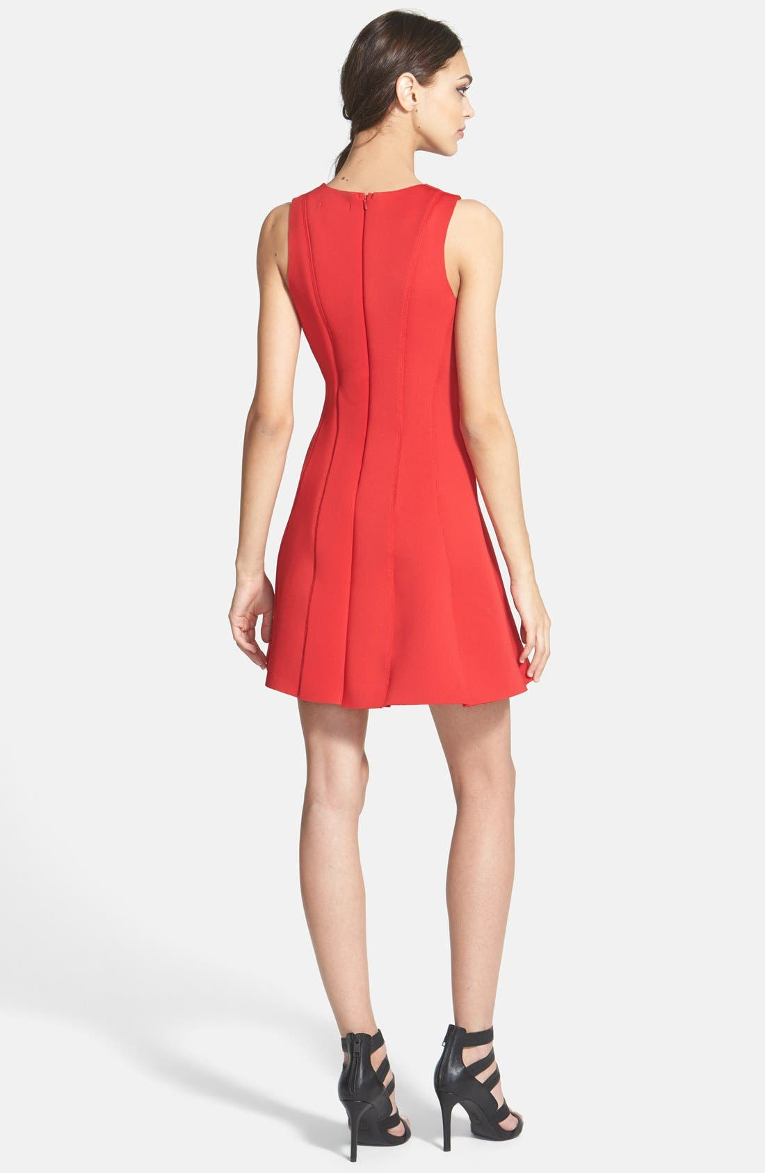 Sleeveless Scuba Fit & Flare Dress,                             Alternate thumbnail 2, color,                             Red