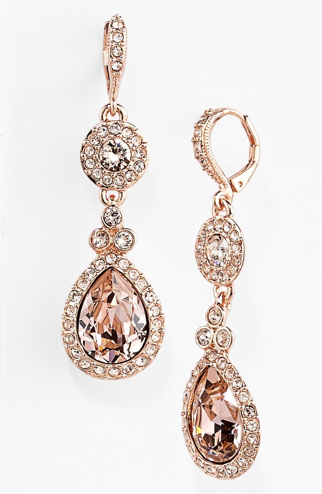 Crystal Teardrop Earrings,                         Main,                         color, Rose/ Silk
