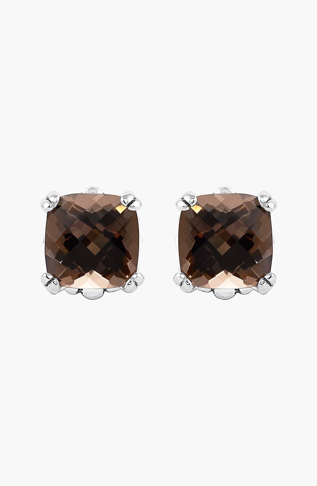 'Prism' Stud Earrings,                             Alternate thumbnail 3, color,                             Silver/ Smokey Quartz