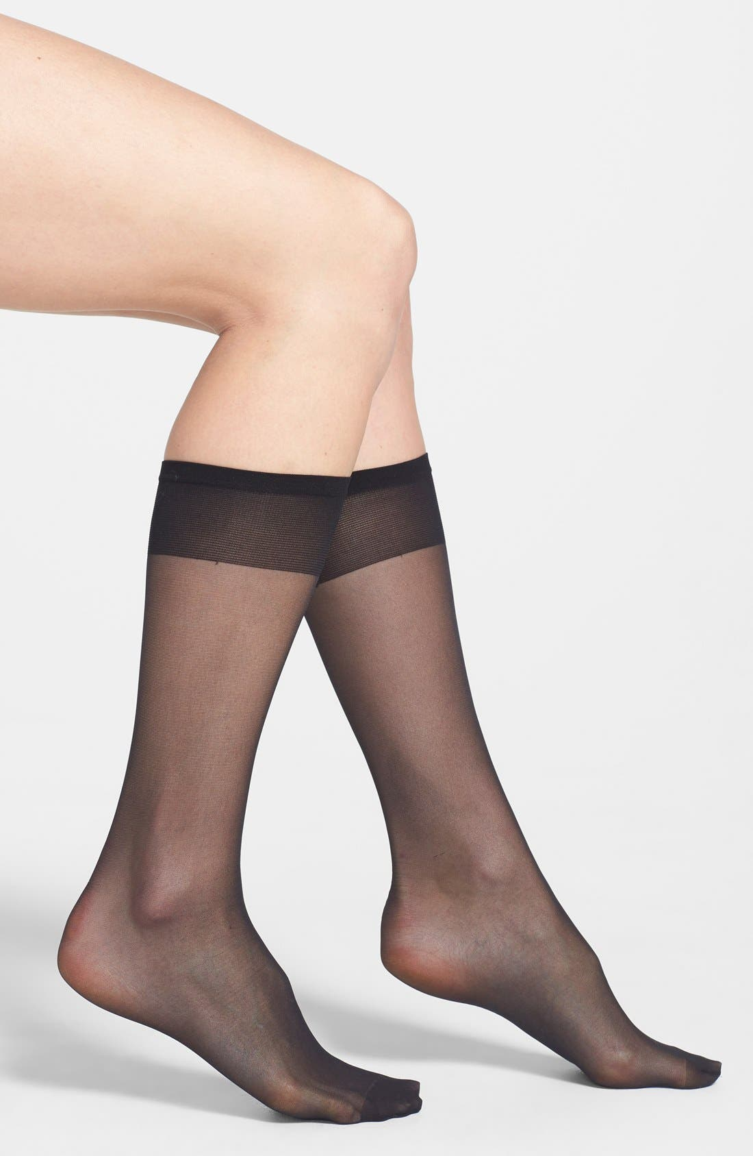 3-Pack Sheer Knee Highs,                         Main,                         color, Black