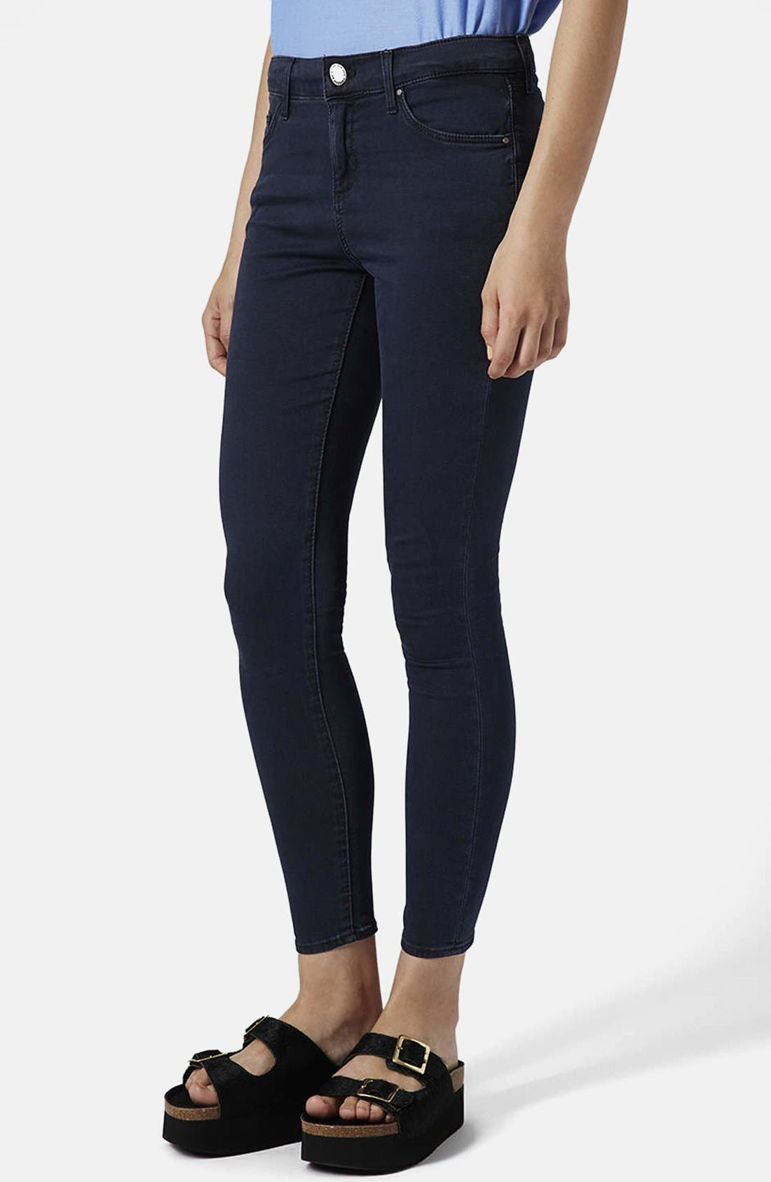 Main Image - Topshop Moto 'Leigh' Crop Skinny Jeans (Blue Black) (Regular, Short & Long)