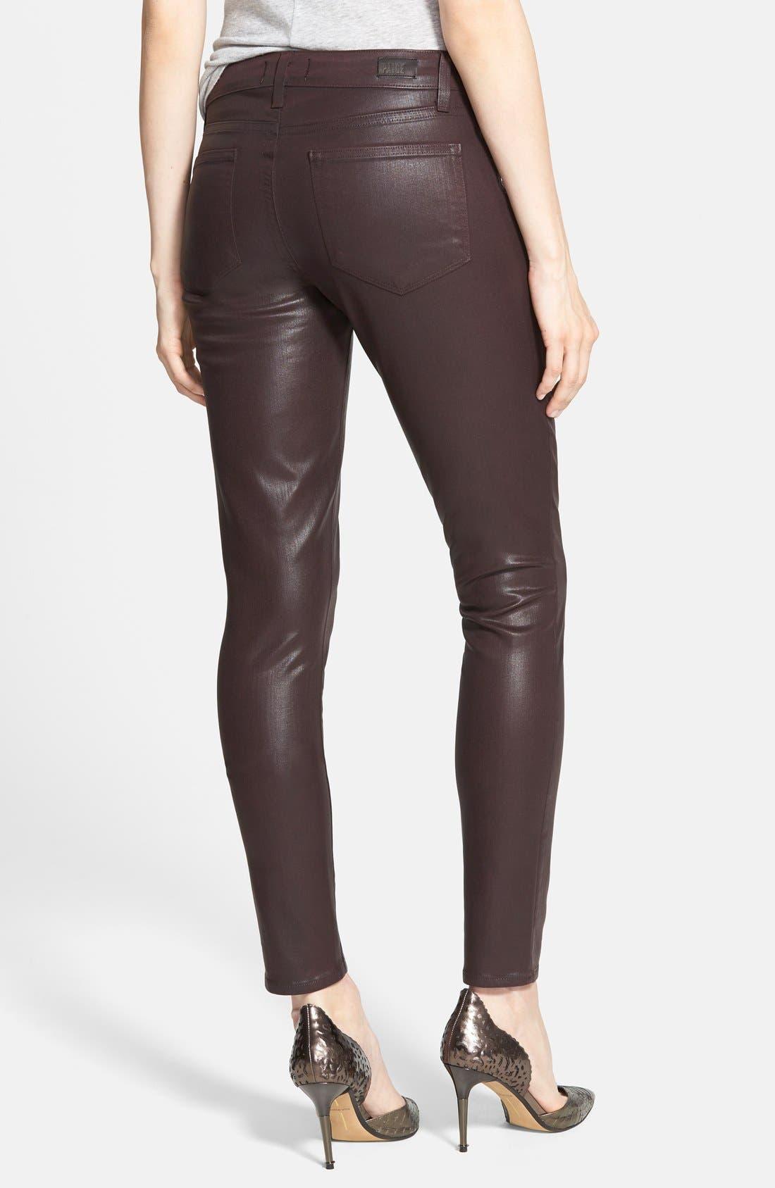 Alternate Image 2  - Paige Denim 'Edgemont' Coated Skinny Jeans (Dark Mauve Pink)