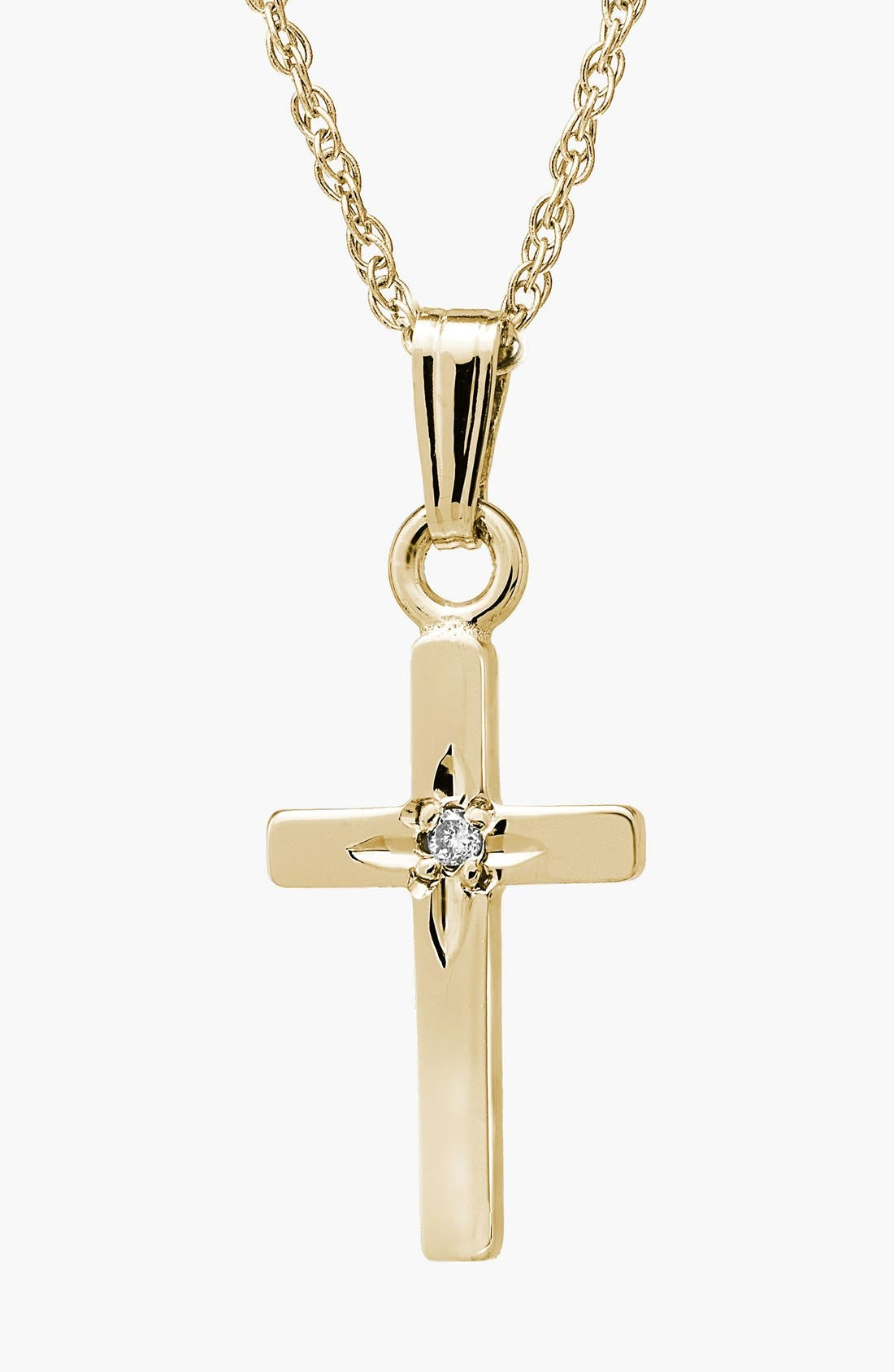 Mignonette 14k Gold & Diamond Cross Necklace (Girls)