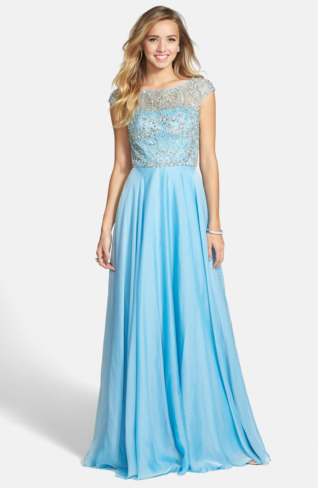 Alternate Image 1 Selected - Sherri Hill Embellished Illusion Bodice Gown