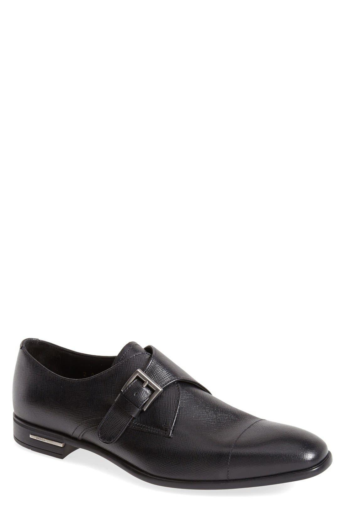 Prada Saffiano Monk Strap Shoe (Men)