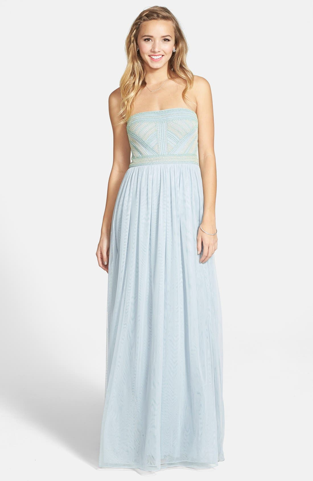 Alternate Image 1 Selected - Adrianna Papell Beaded Chiffon Strapless Gown