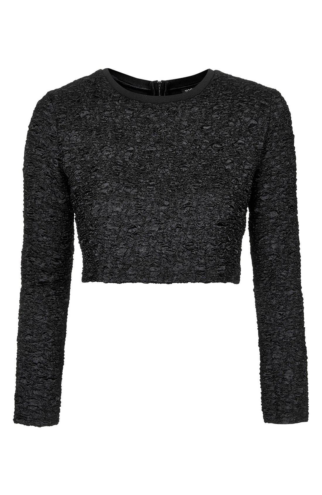 Alternate Image 3  - Topshop Textured Crop Sweater
