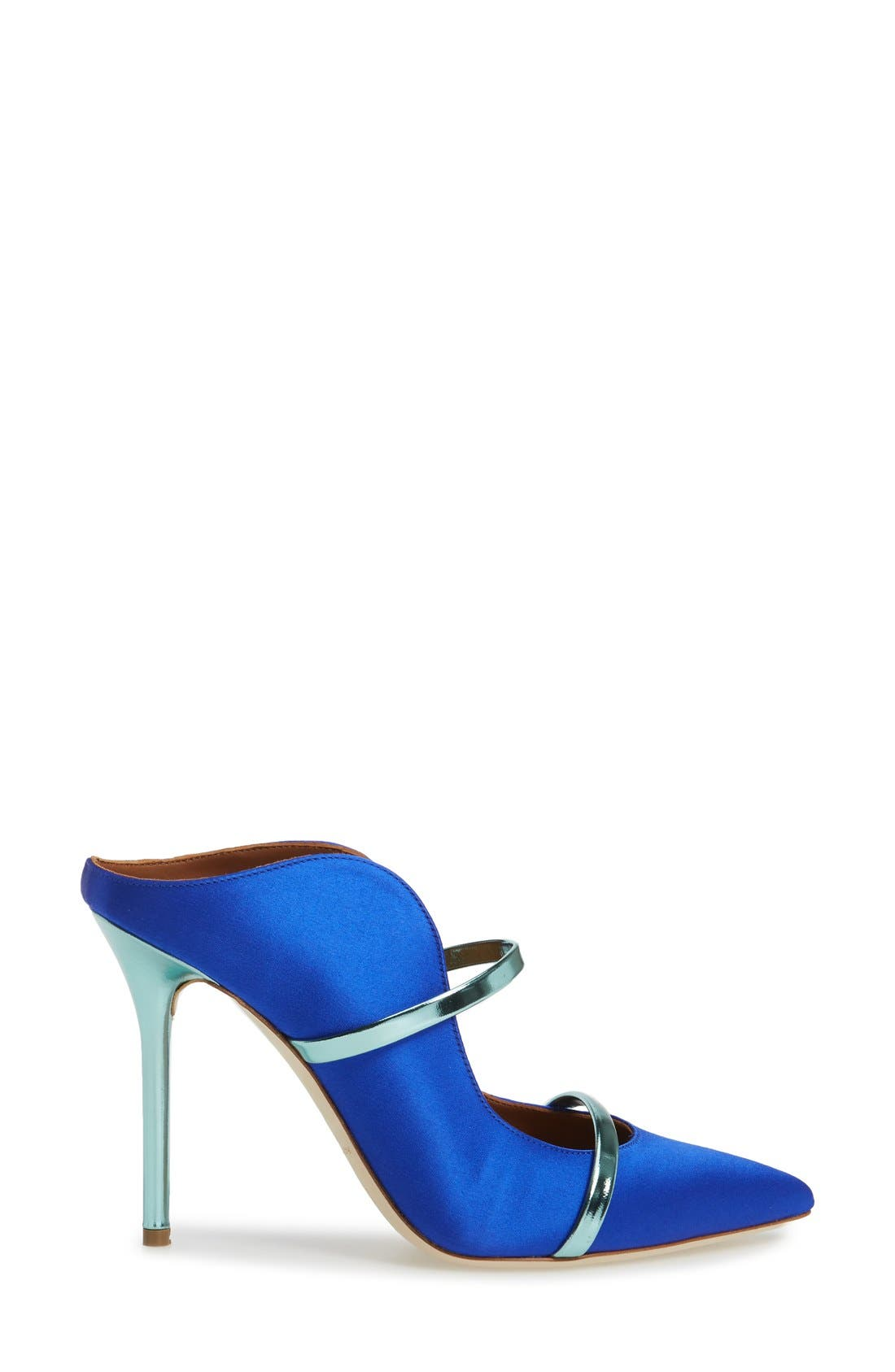 'Maureen' Pointy Toe Mule,                             Alternate thumbnail 4, color,                             Blue Satin