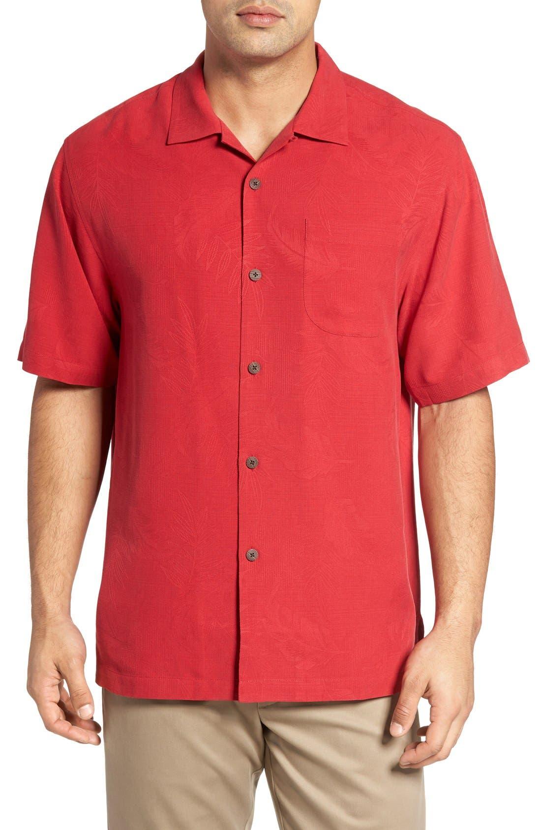 Rio Fronds Short Sleeve Silk Sport Shirt,                         Main,                         color, Lehua Red
