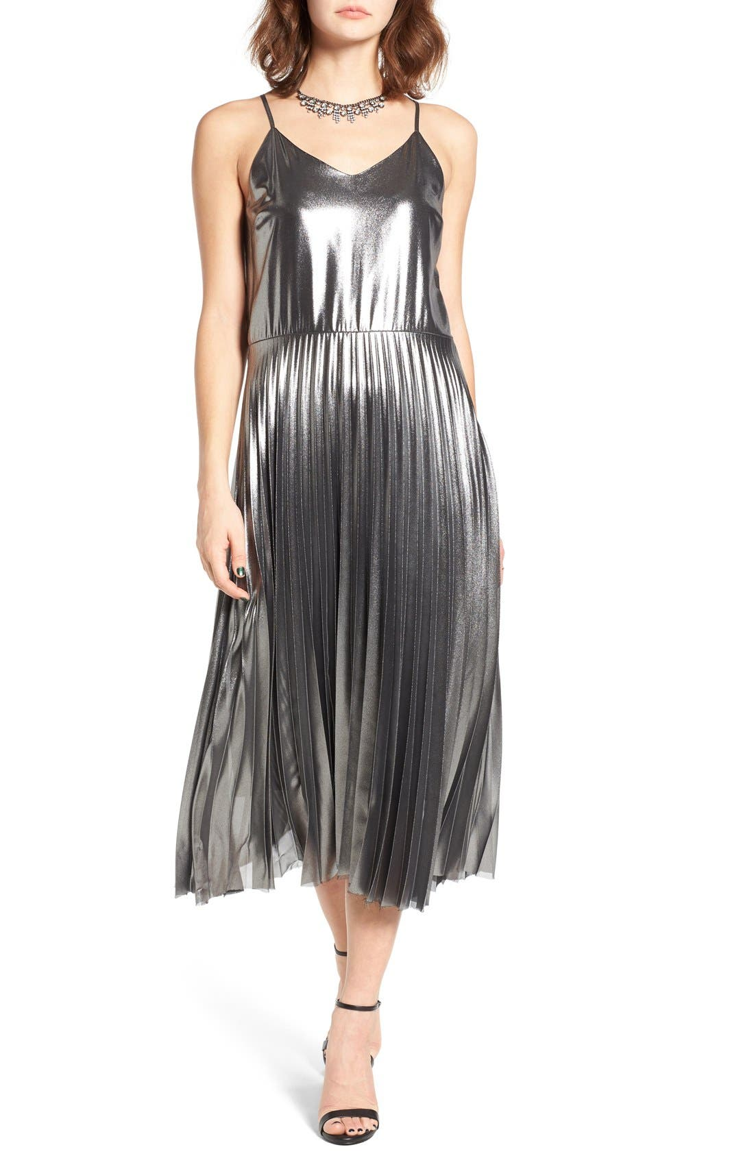 Main Image - Love, Fire Pleated Foil Midi Dress