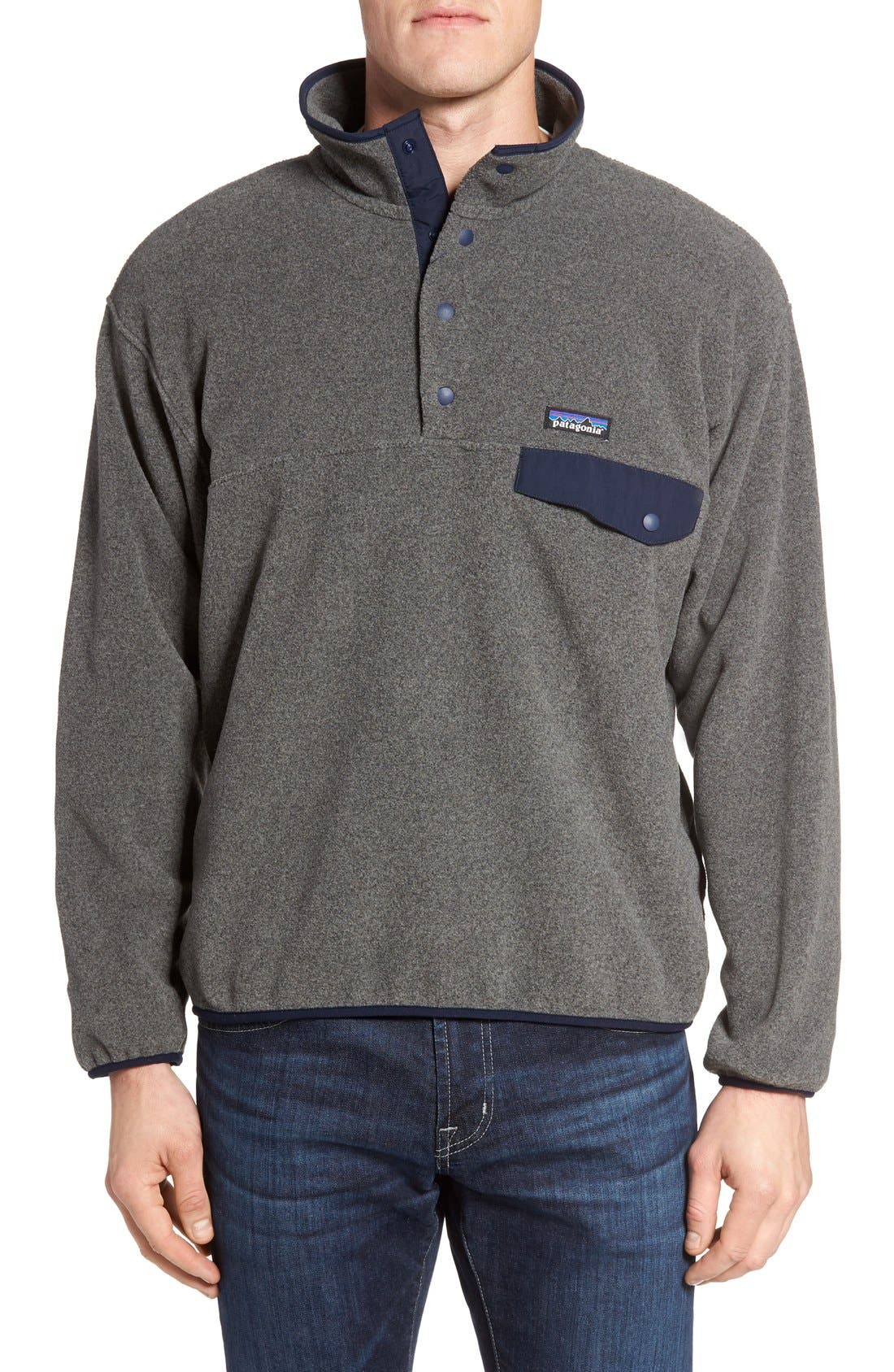 Synchilla<sup>®</sup> Snap-T<sup>®</sup> Pullover,                             Main thumbnail 1, color,                             Nickel/ Navy Blue