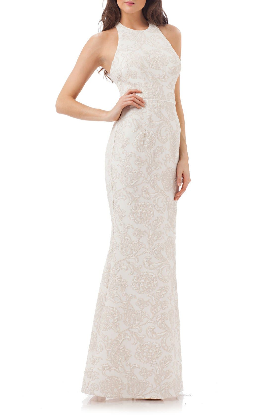 Alternate Image 1 Selected - JS Collections Halter Gown