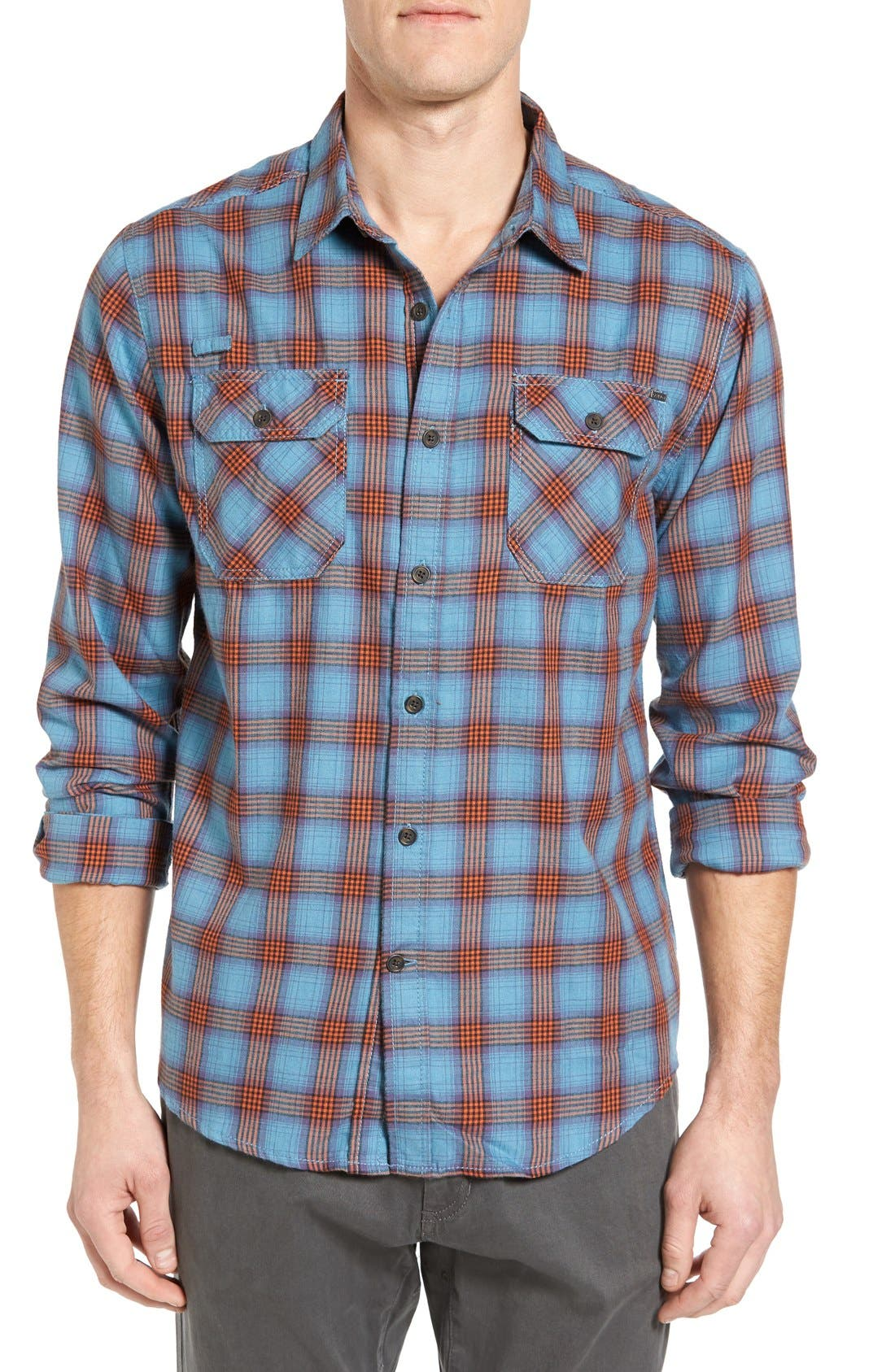 Burner Regular Fit Plaid Flannel Shirt,                         Main,                         color, Vision Blue